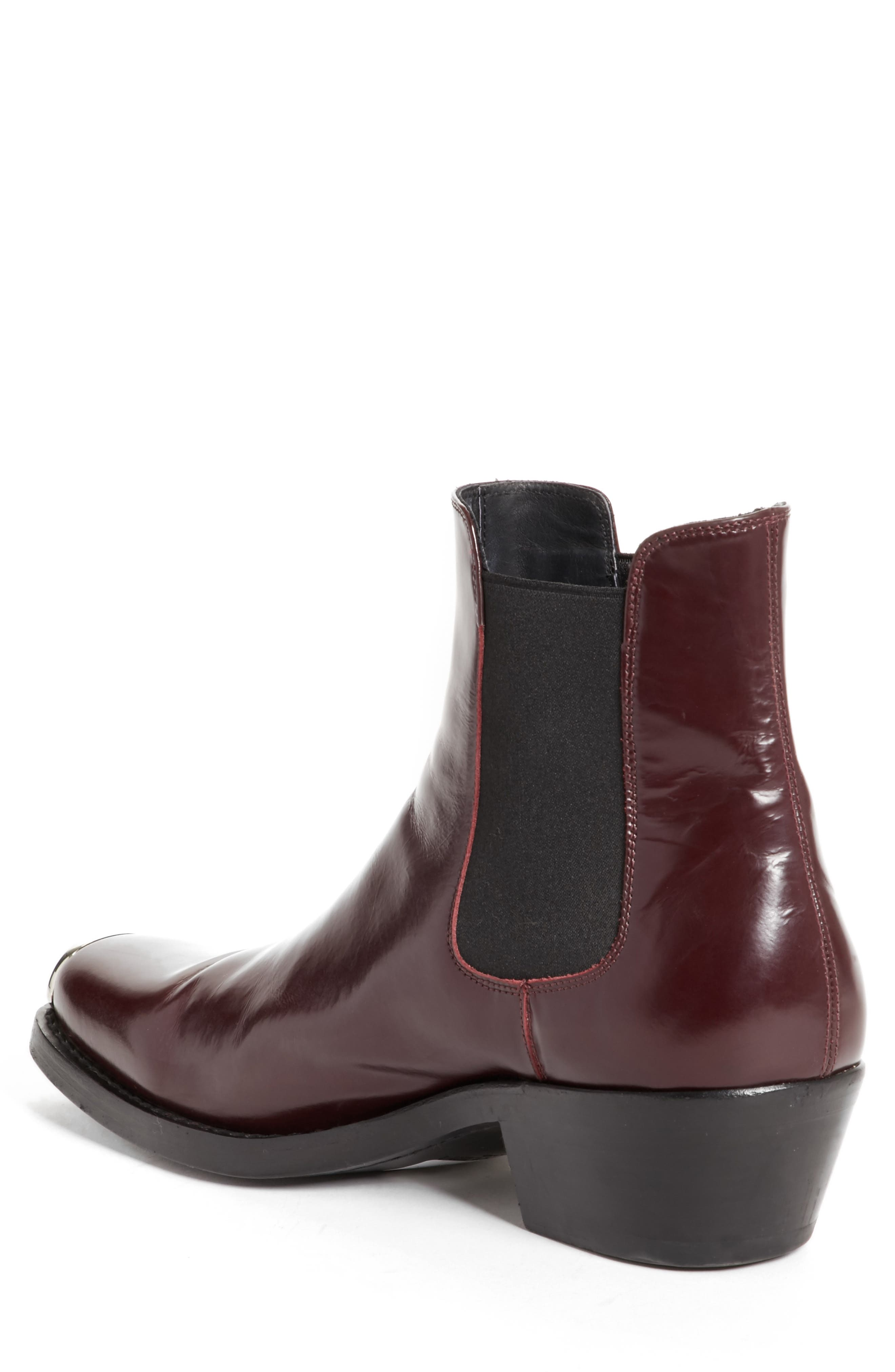 Chris Western Metal Tip Boot,                             Alternate thumbnail 2, color,                             Bordeaux Leather