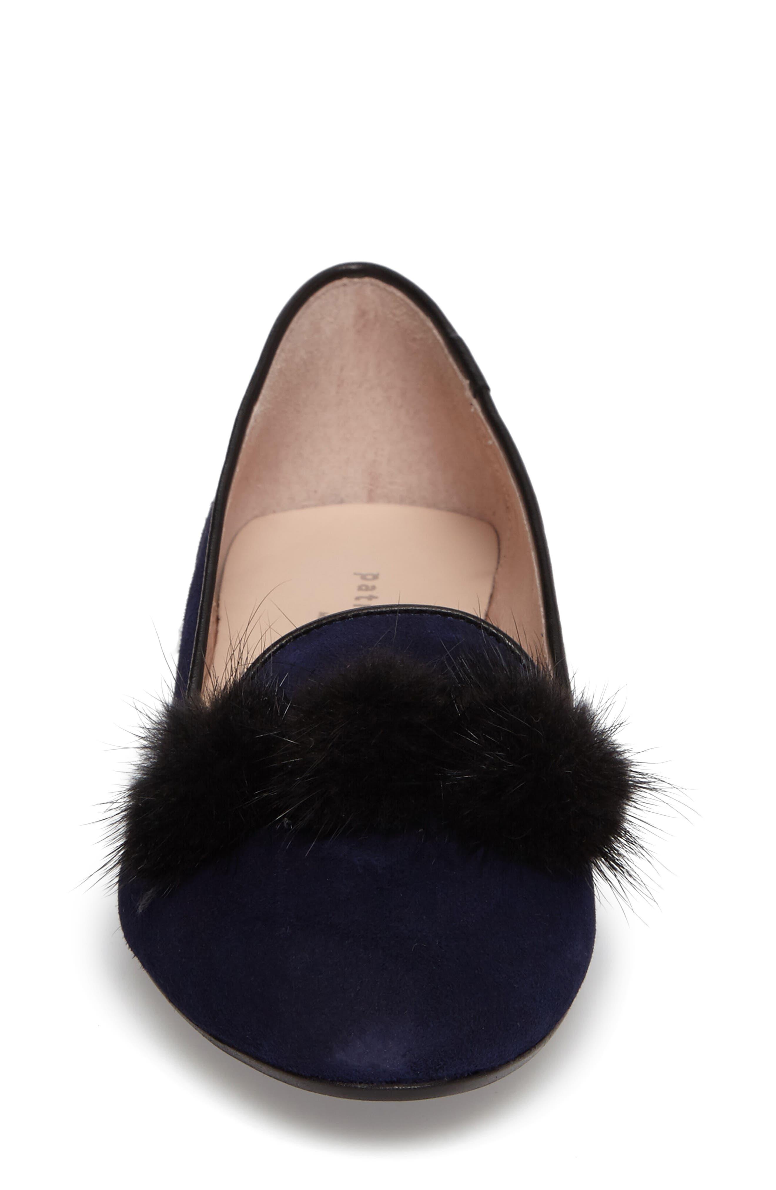 Wallis Genuine Fur Pompom Loafer,                             Alternate thumbnail 4, color,                             Navy Suede