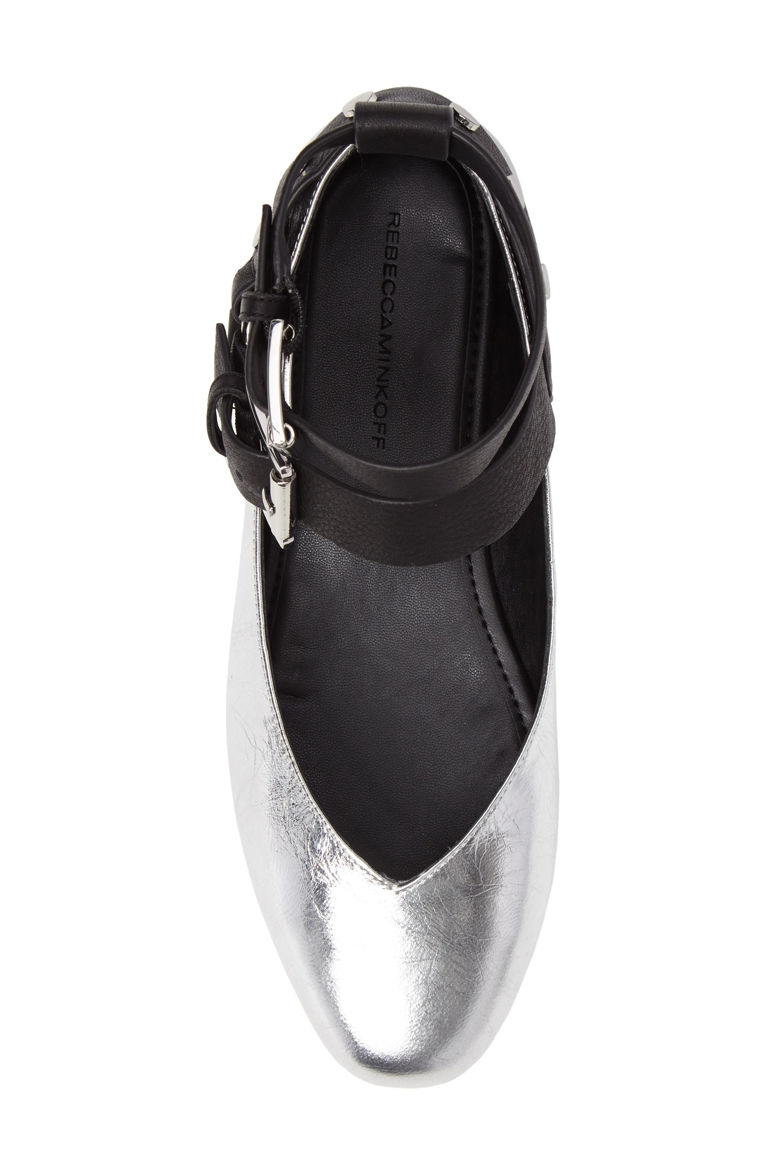 Vivica Ankle Strap Flat,                             Alternate thumbnail 6, color,                             Silver Leather