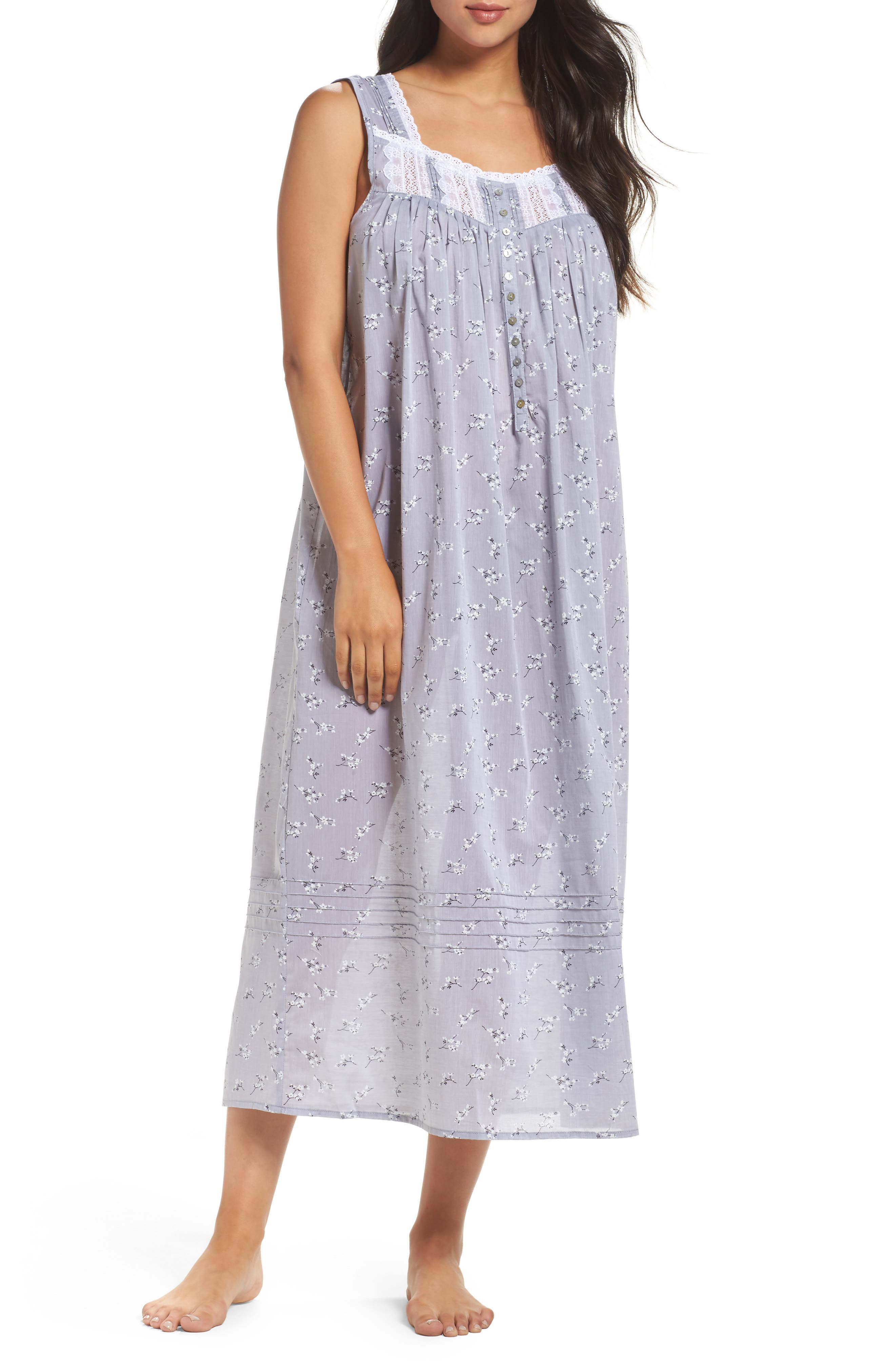 Pintuck Ballet Nightgown,                             Main thumbnail 1, color,                             Grey