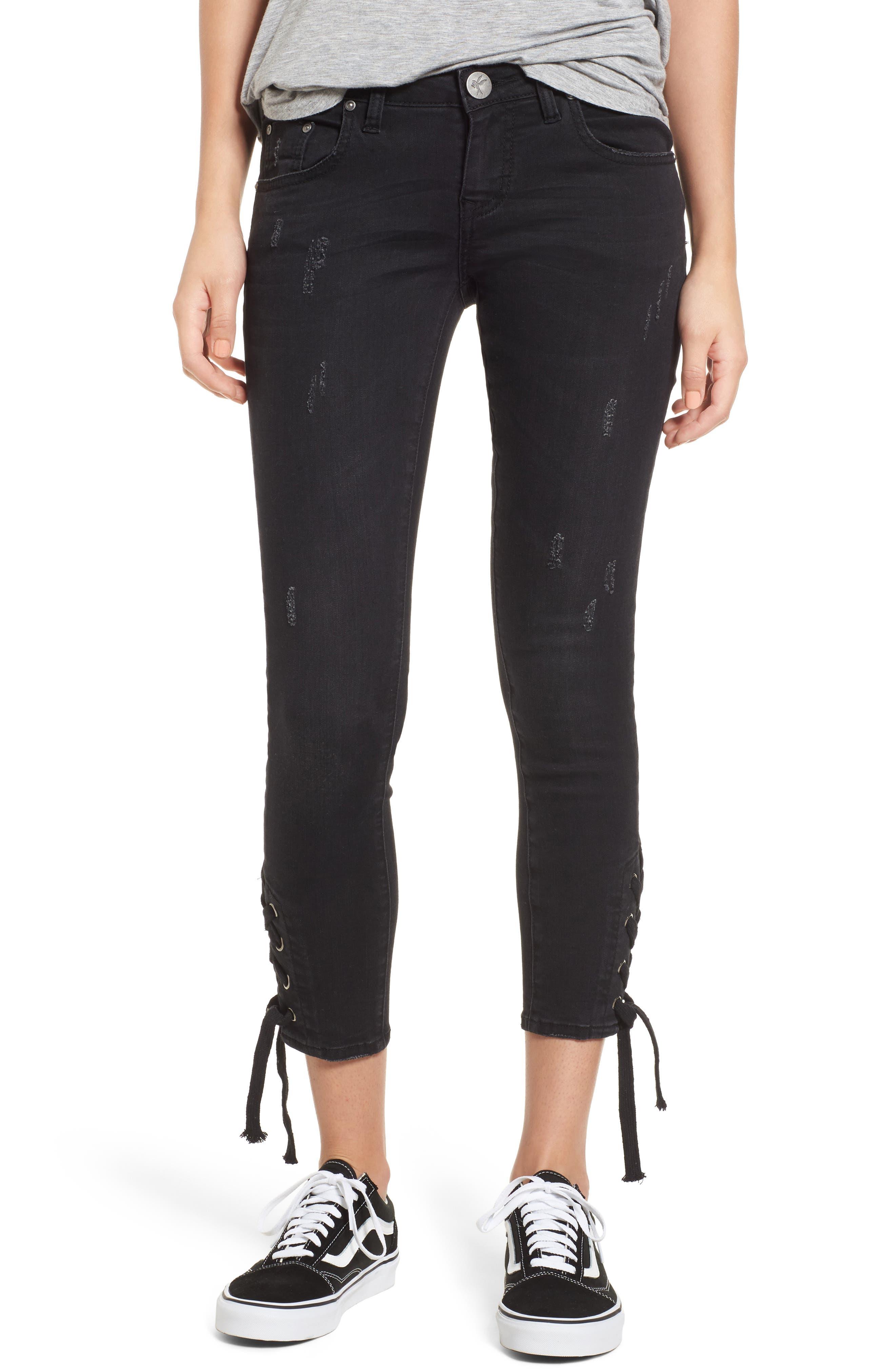 Freebirds Side Tie Crop Skinny Jeans,                         Main,                         color, Black Paris