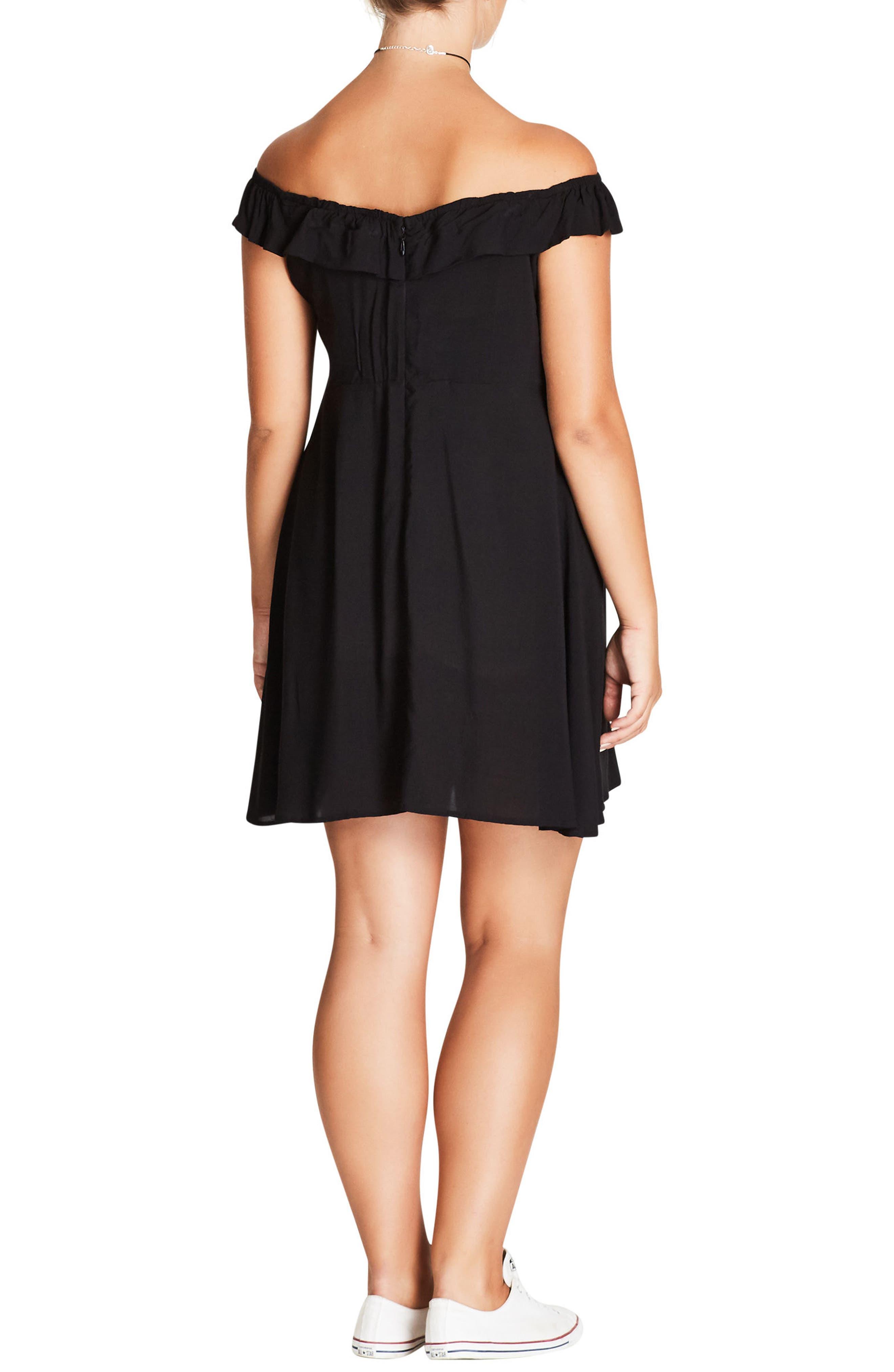 Pretty Button Fit & Flare Dress,                             Alternate thumbnail 2, color,                             Black