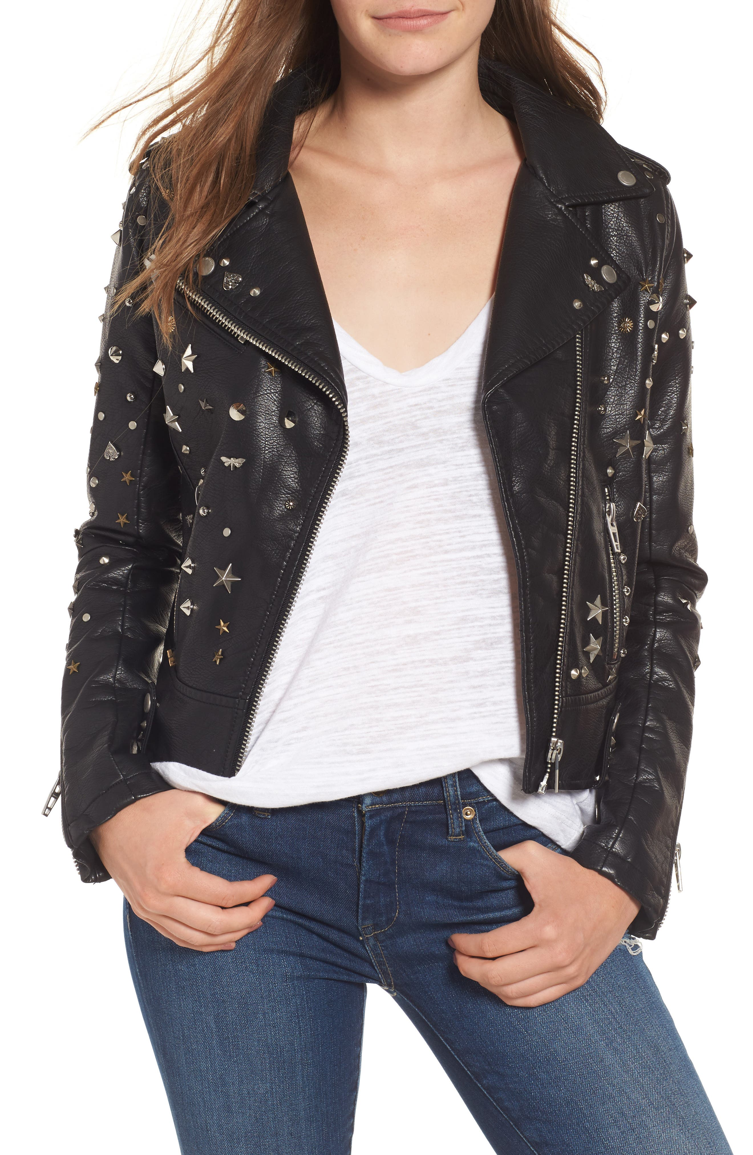 BLANKNYC Studded Faux Leather Moto Jacket