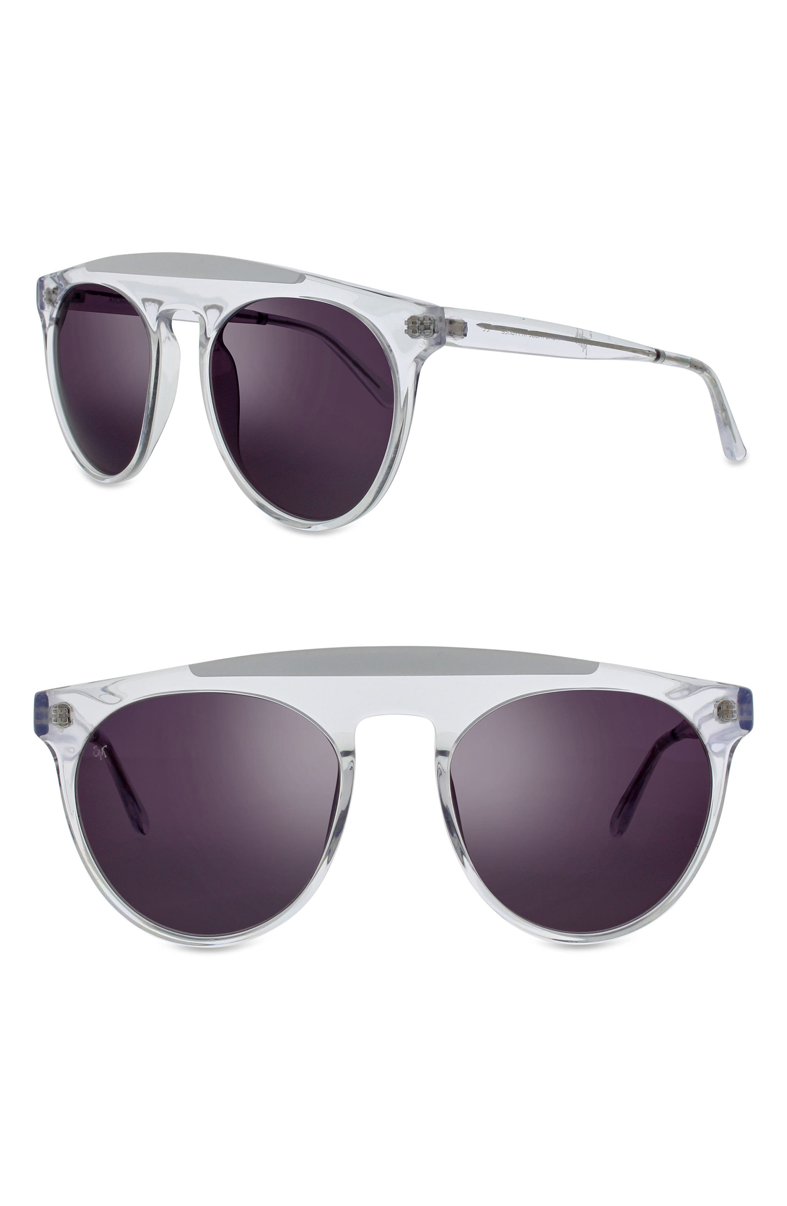 Atomic 52mm Round Sunglasses,                             Main thumbnail 1, color,                             Crystal/ White