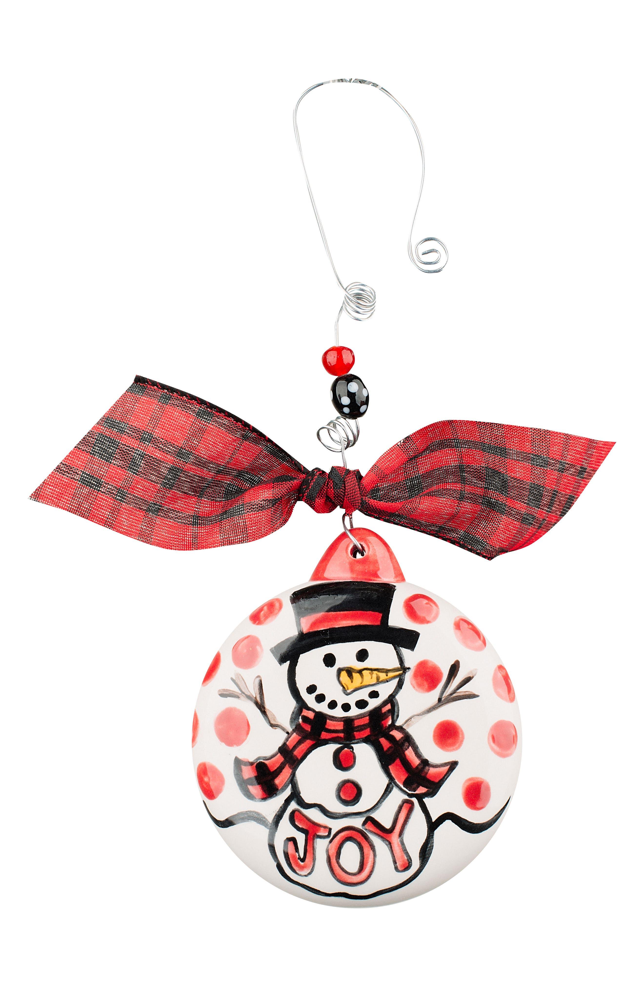 Joy Snowman Ceramic Ornament,                         Main,                         color, Cream/ Red