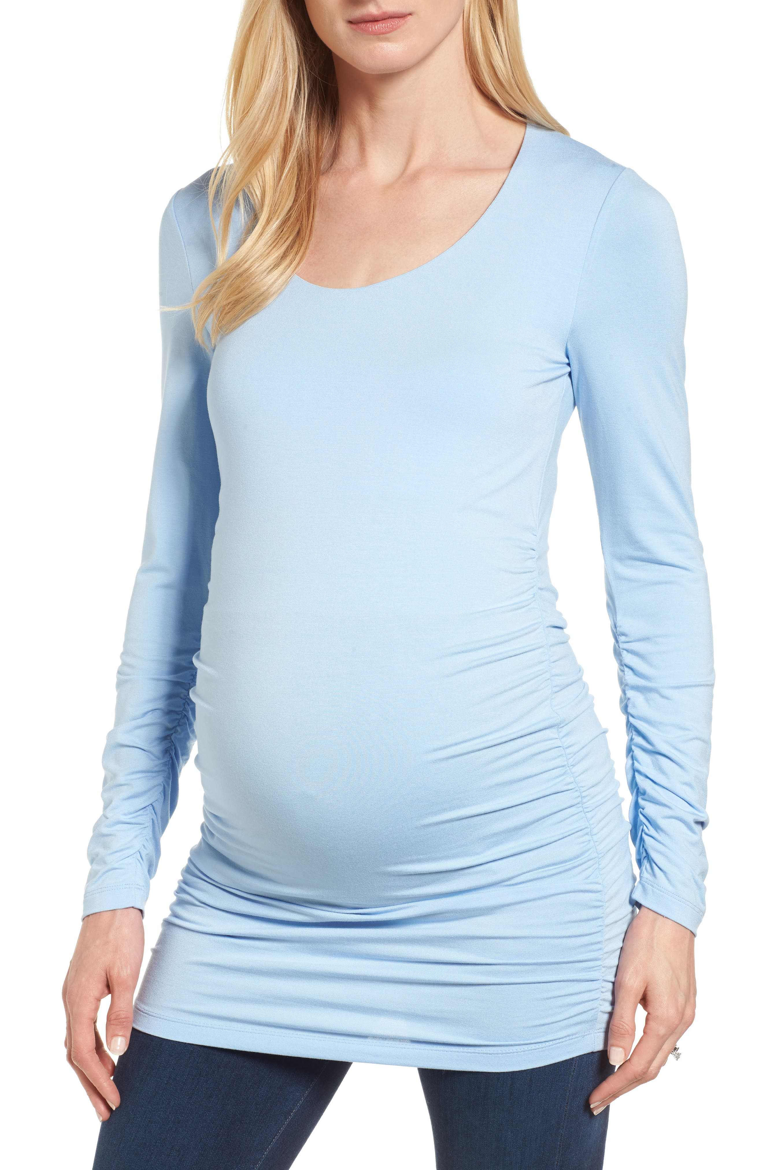 Scoop Neck Layering Top,                         Main,                         color, Dusted Blue