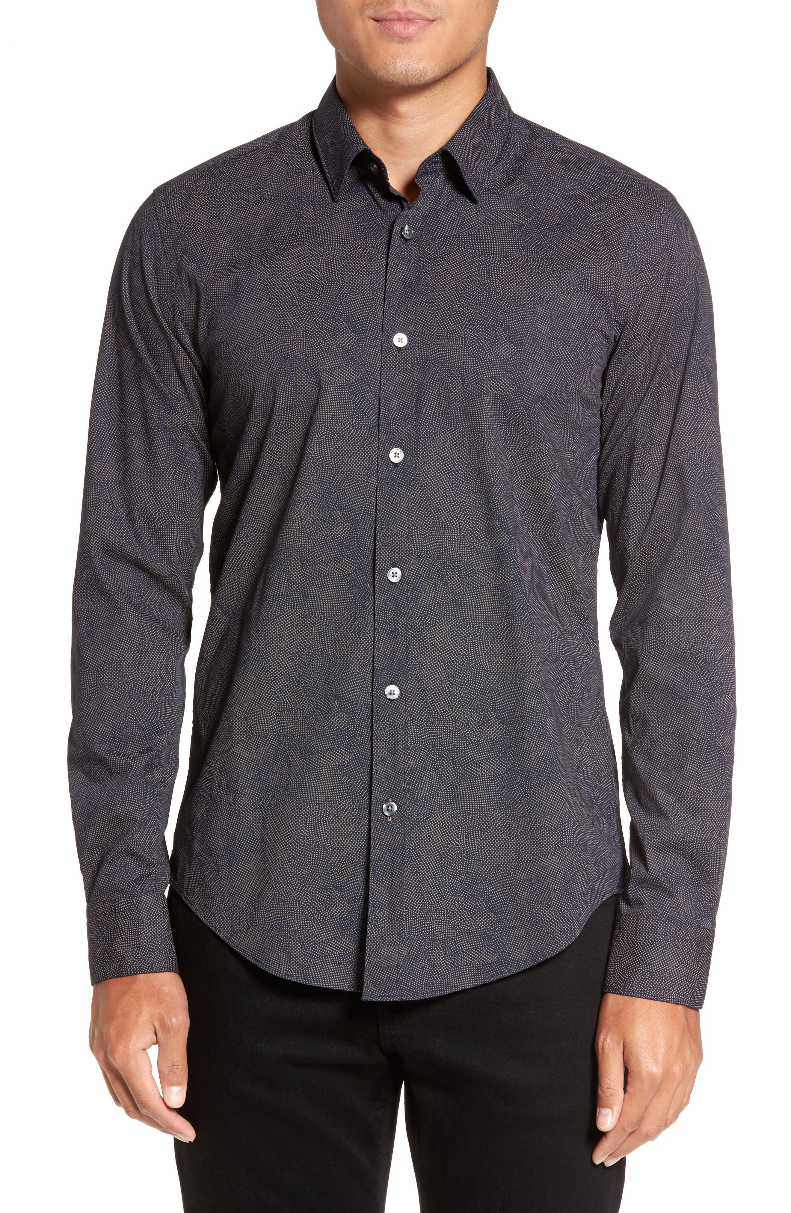 Hugo Boss Ronni Print Trim Fit Sport Shirt,                         Main,                         color, Navy