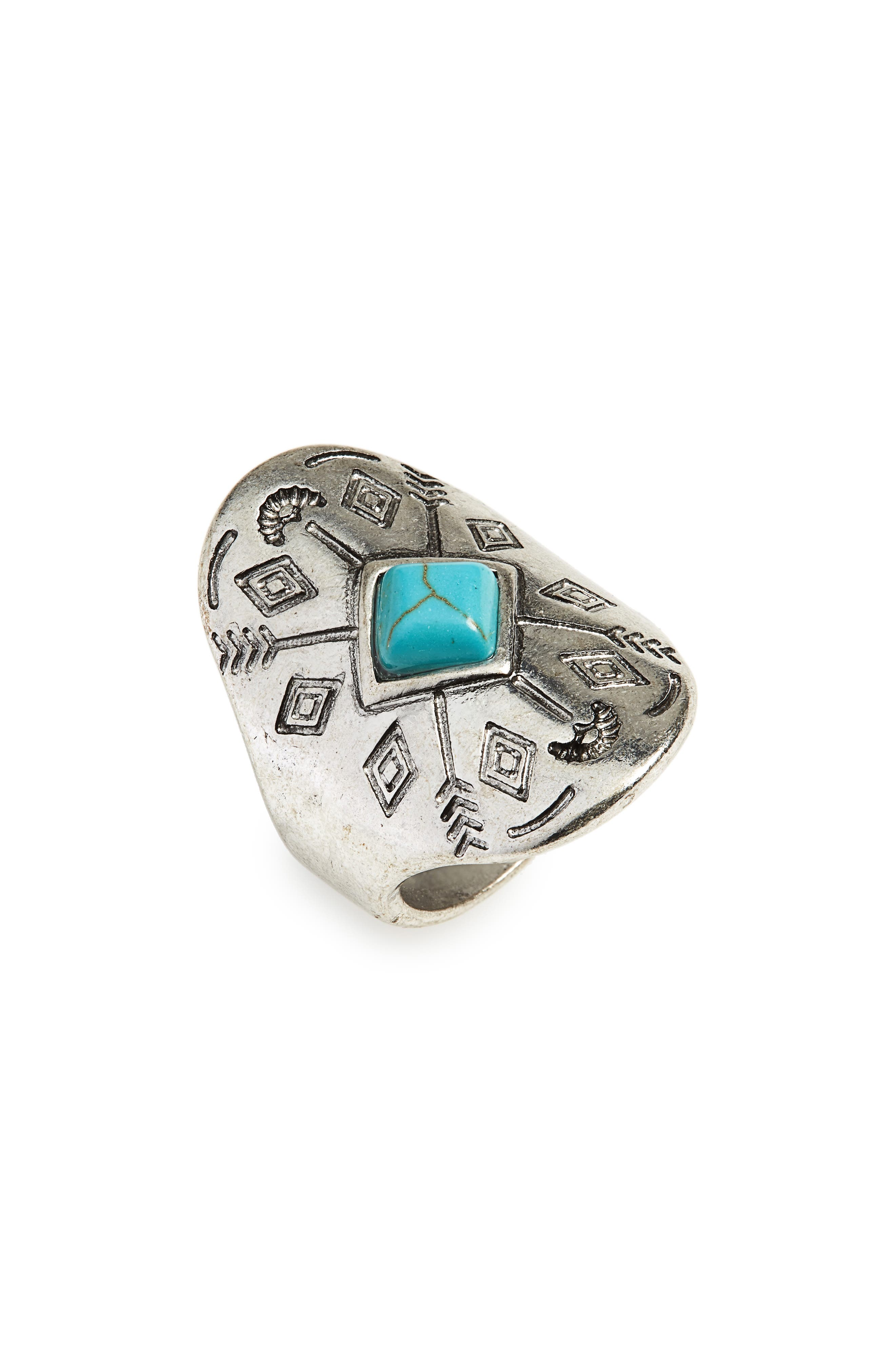 TOPSHOP Engraved Stone Ring