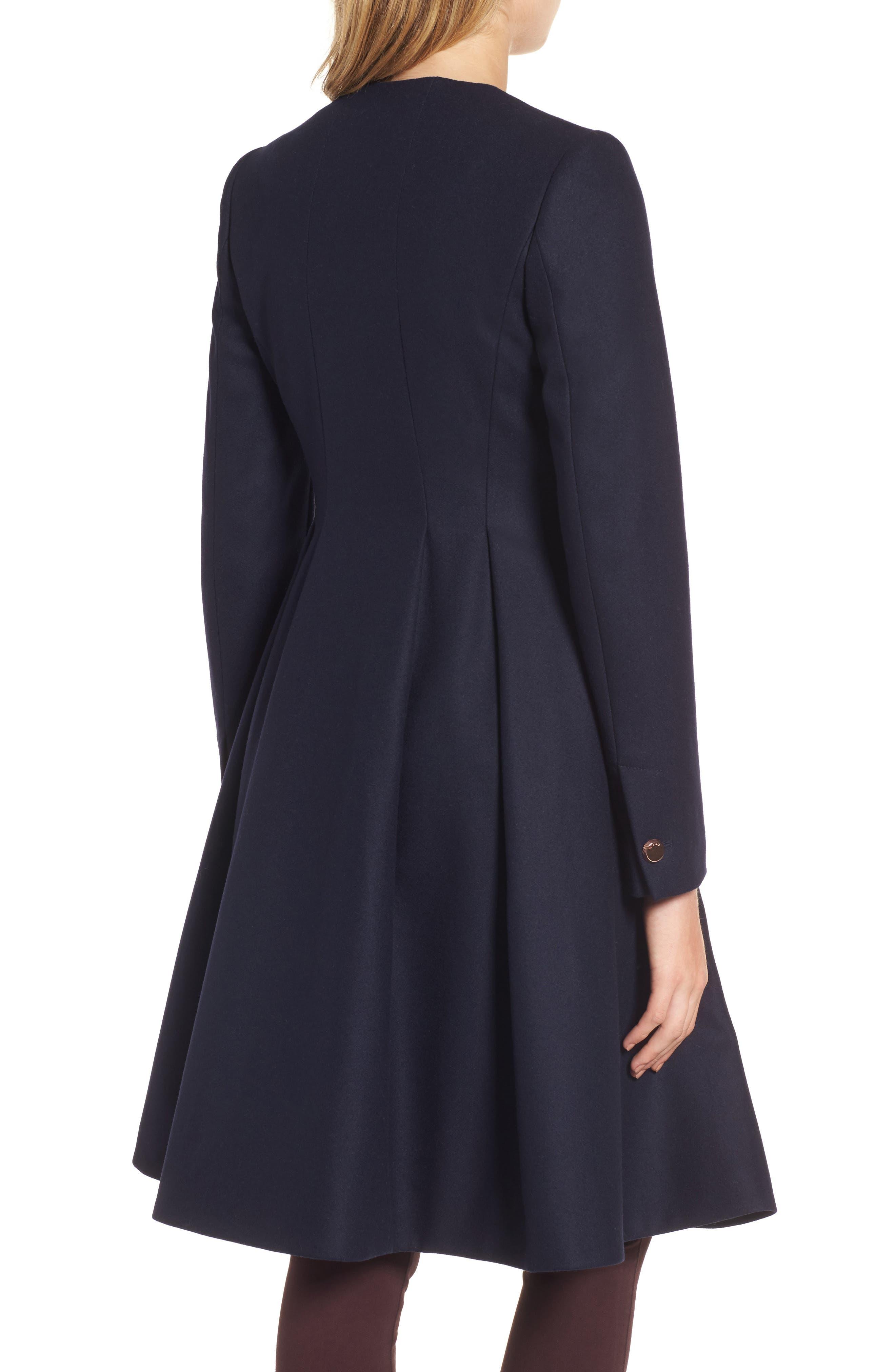 Wool Blend Asymmetrical Skirted Coat,                             Alternate thumbnail 2, color,                             Navy