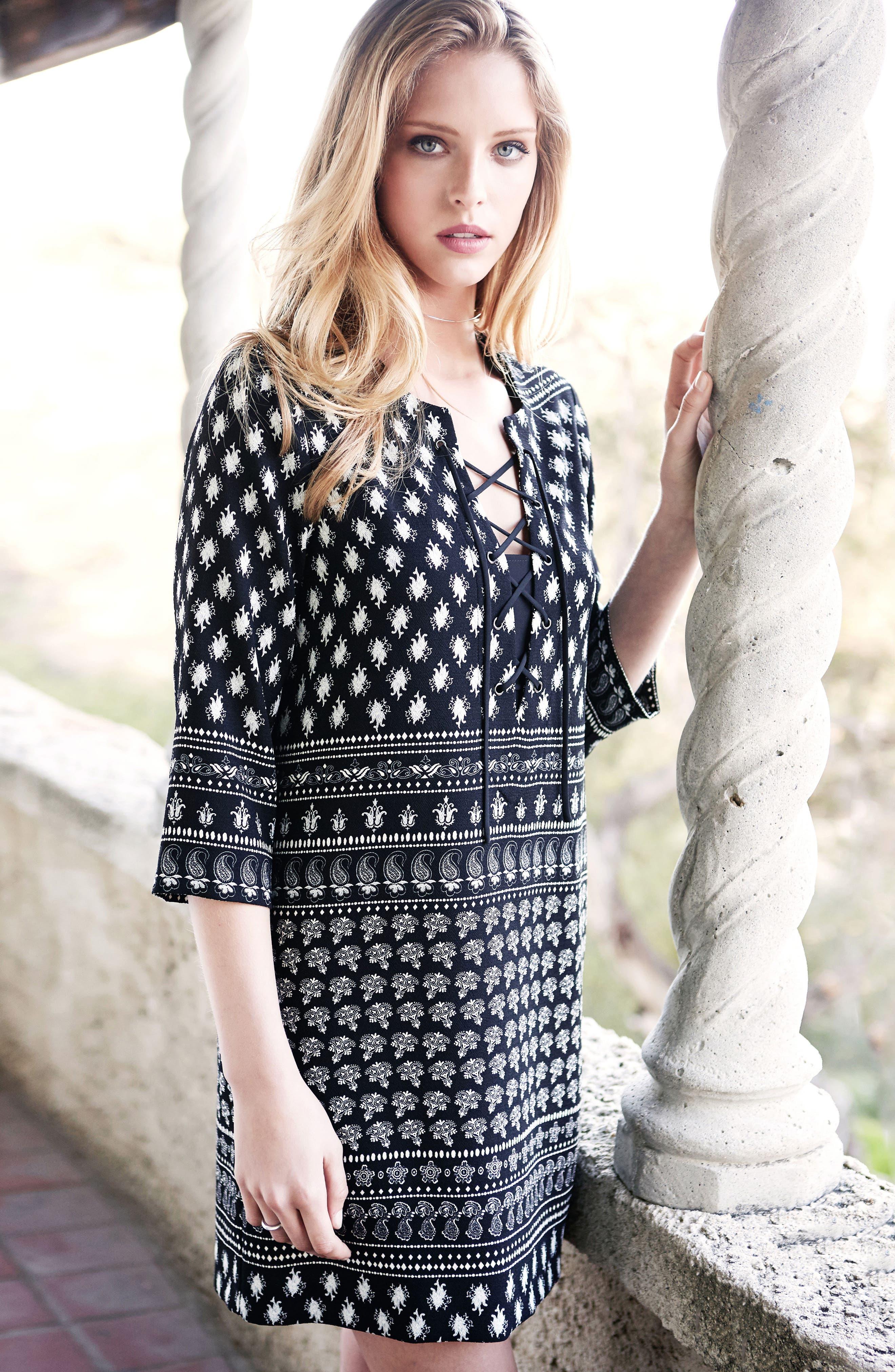 Alternate Image 2  - Karen Kane Print Lace-Up Shift Dress