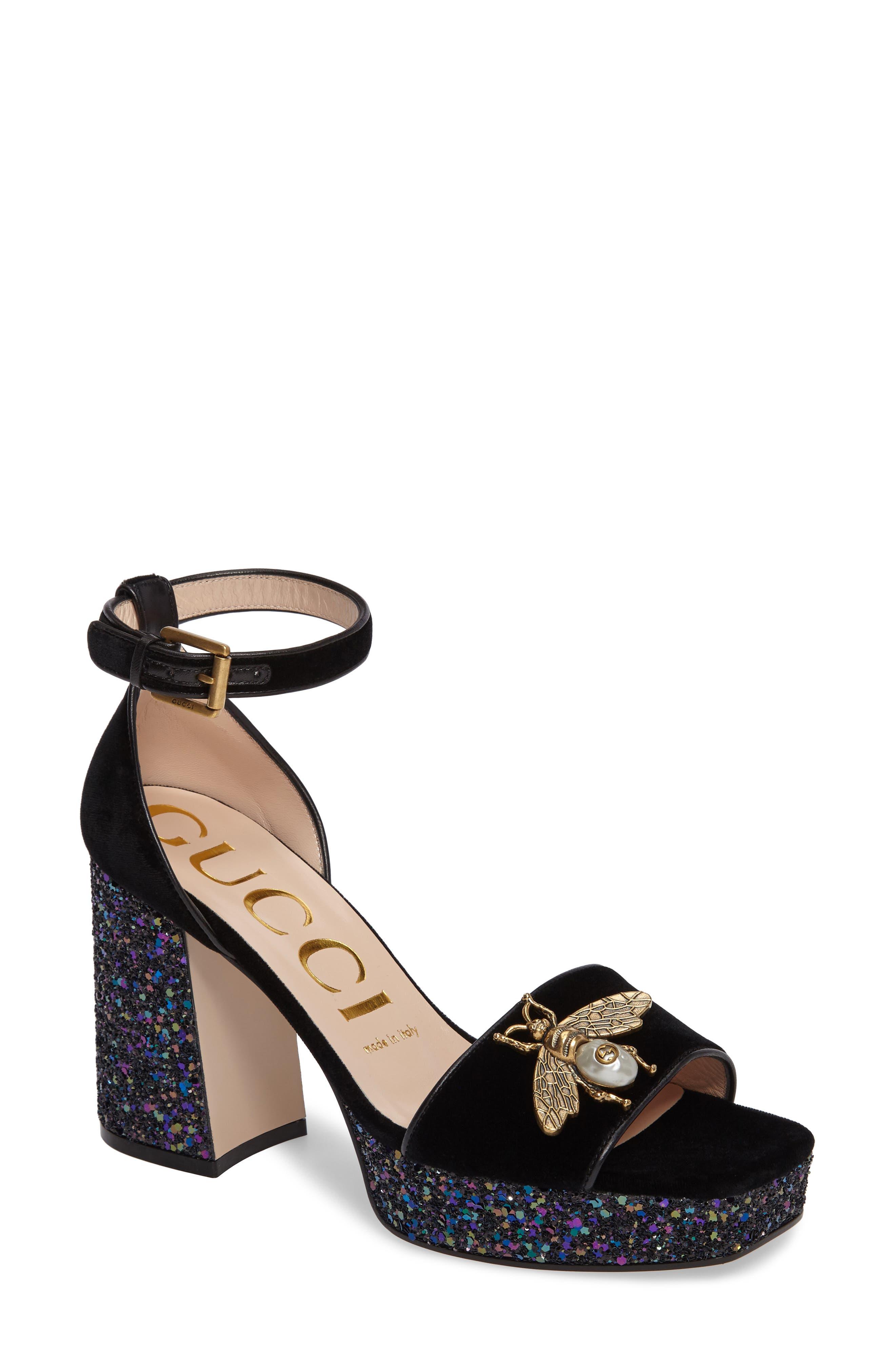 Gucci Soko Glitter Bee Platform Sandal (Women)