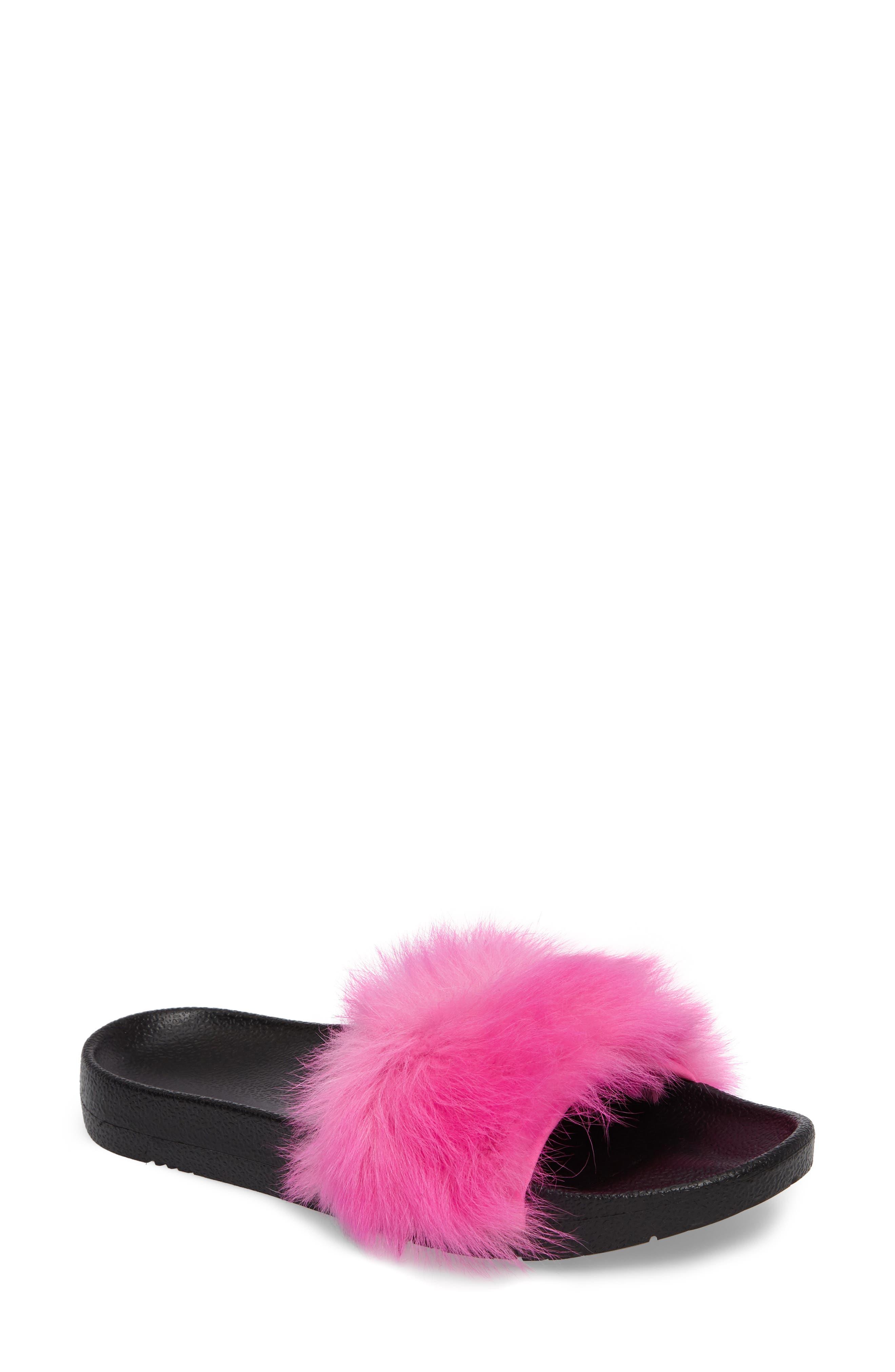 Royale Genuine Shearling Slide Sandal,                         Main,                         color, Neon Pink