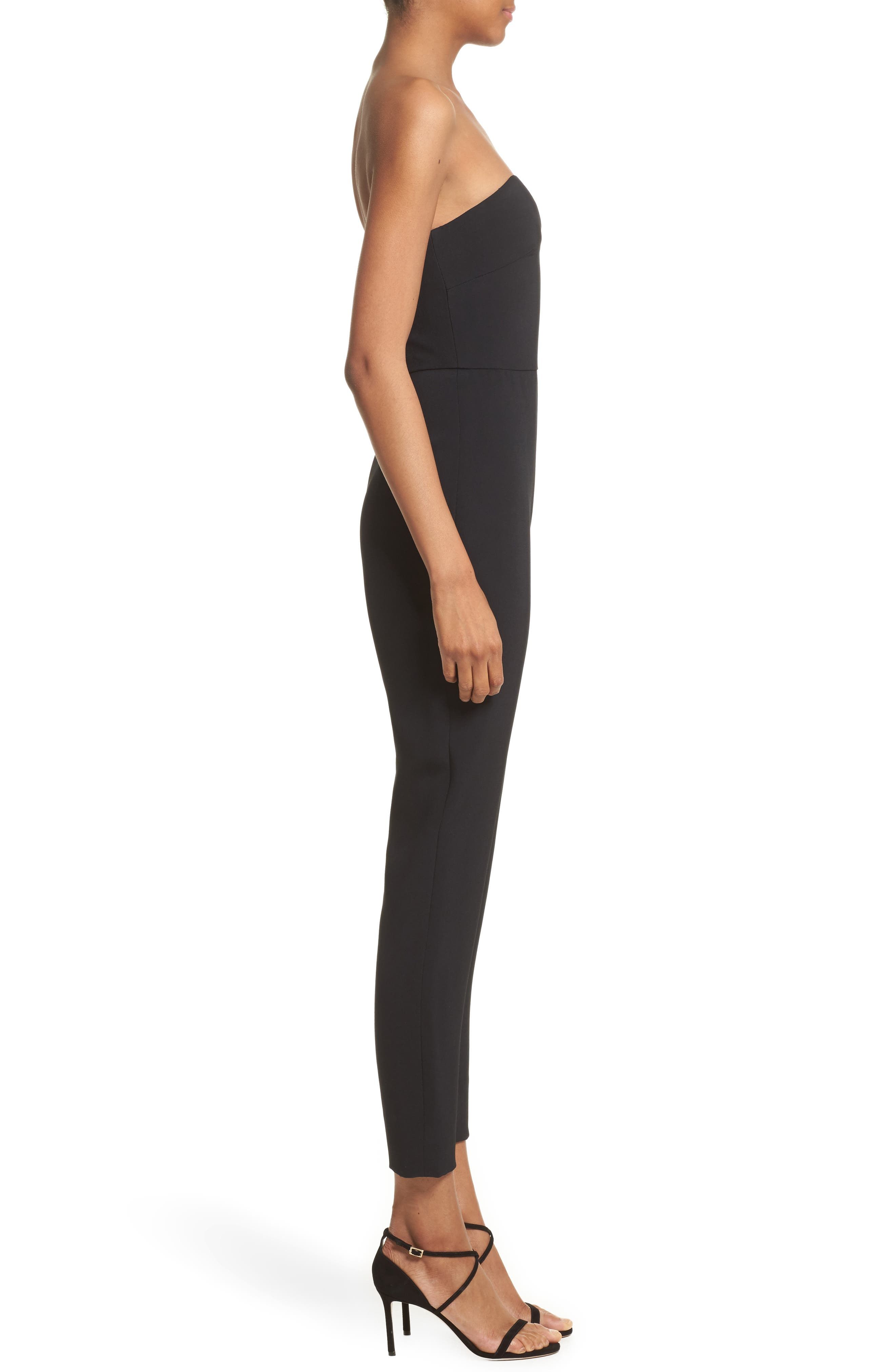 One-Shoulder Jumpsuit,                             Alternate thumbnail 3, color,                             Black