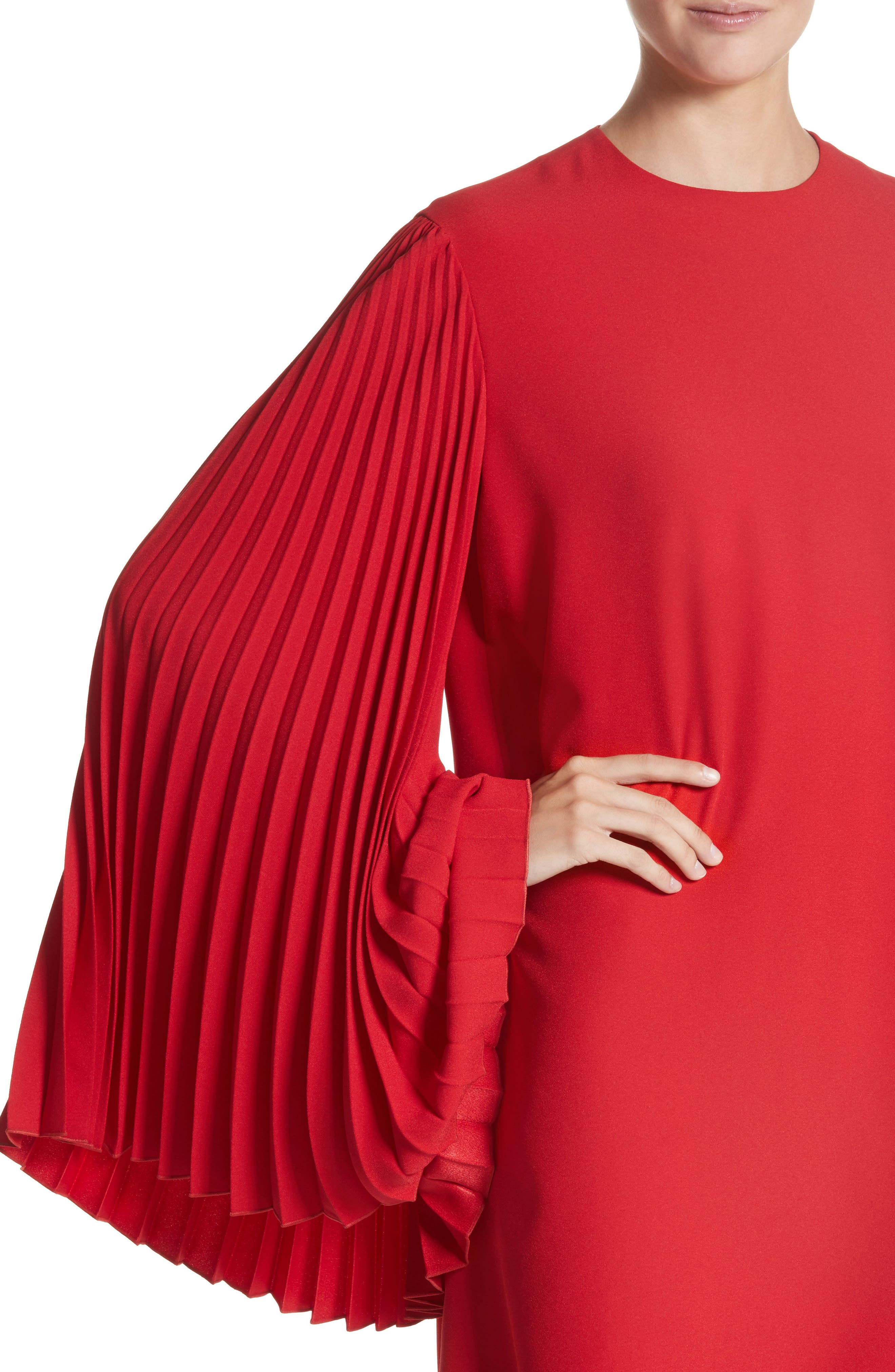Pleated Sleeve Crepe Cady Dress,                             Alternate thumbnail 4, color,                             Red