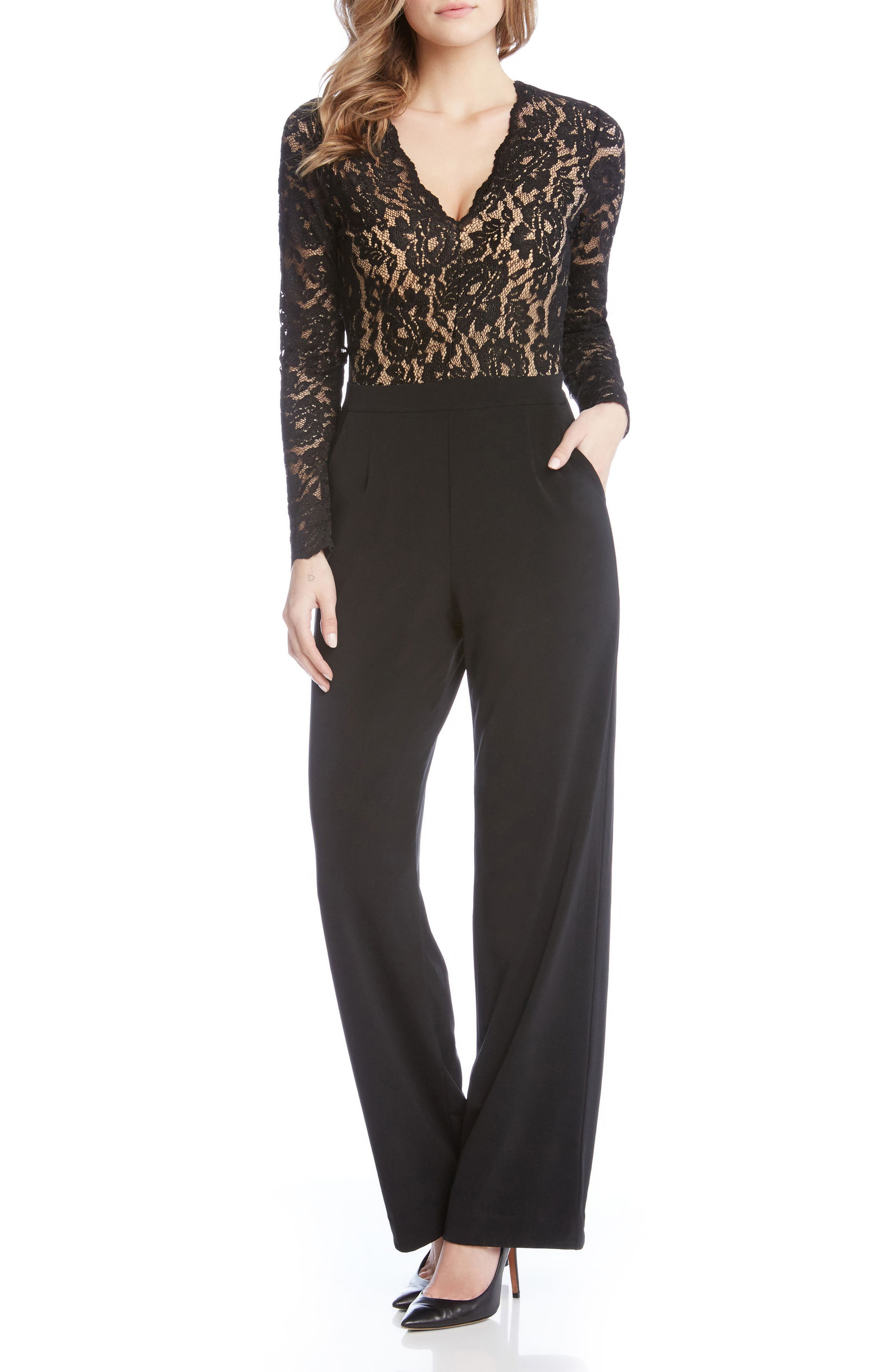 Ava Lace & Knit Jumpsuit,                             Alternate thumbnail 4, color,                             Black