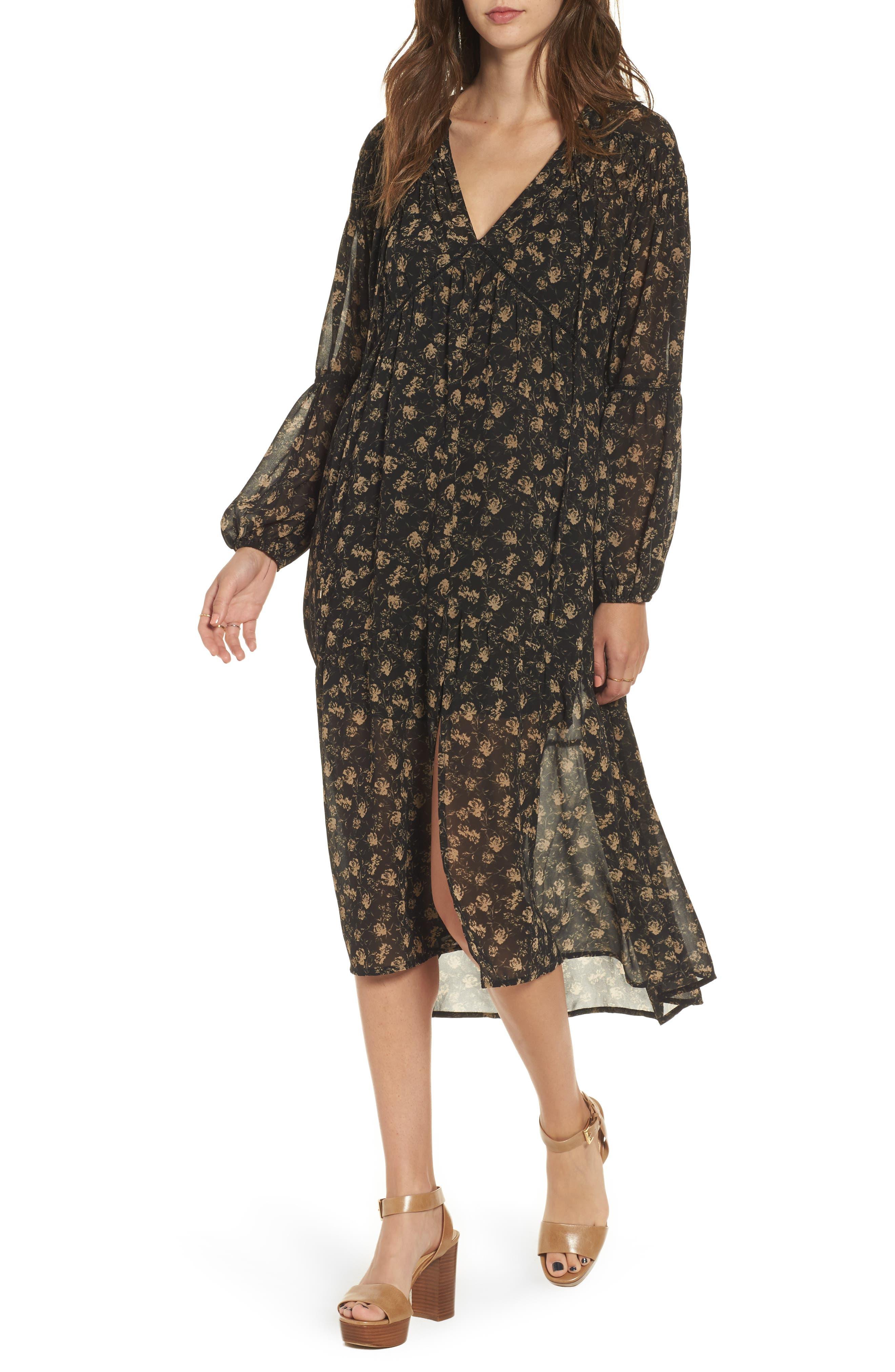 Ambrosia Shift Dress,                         Main,                         color, Black-Tan Floral