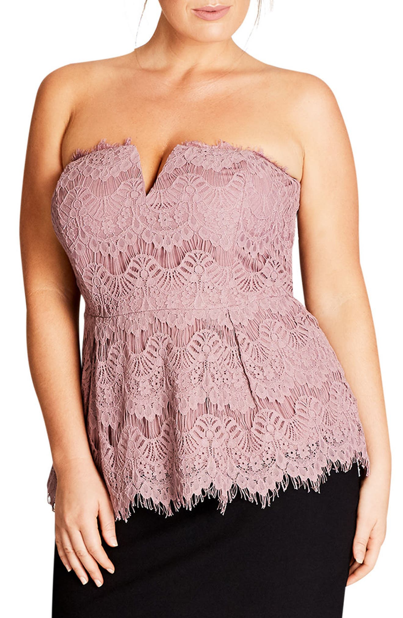 City Chic Deep V Strapless Lace Corset Top (Plus Size)