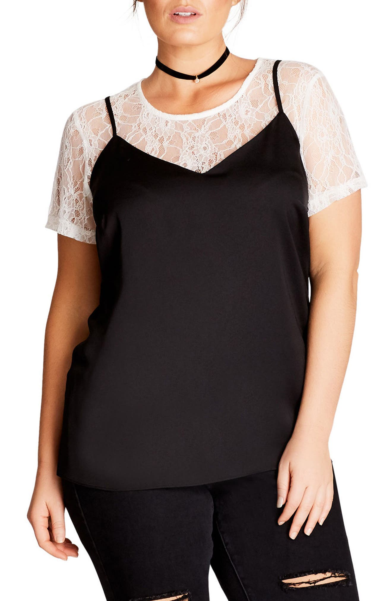 Lace Top,                         Main,                         color, Ivory / Black