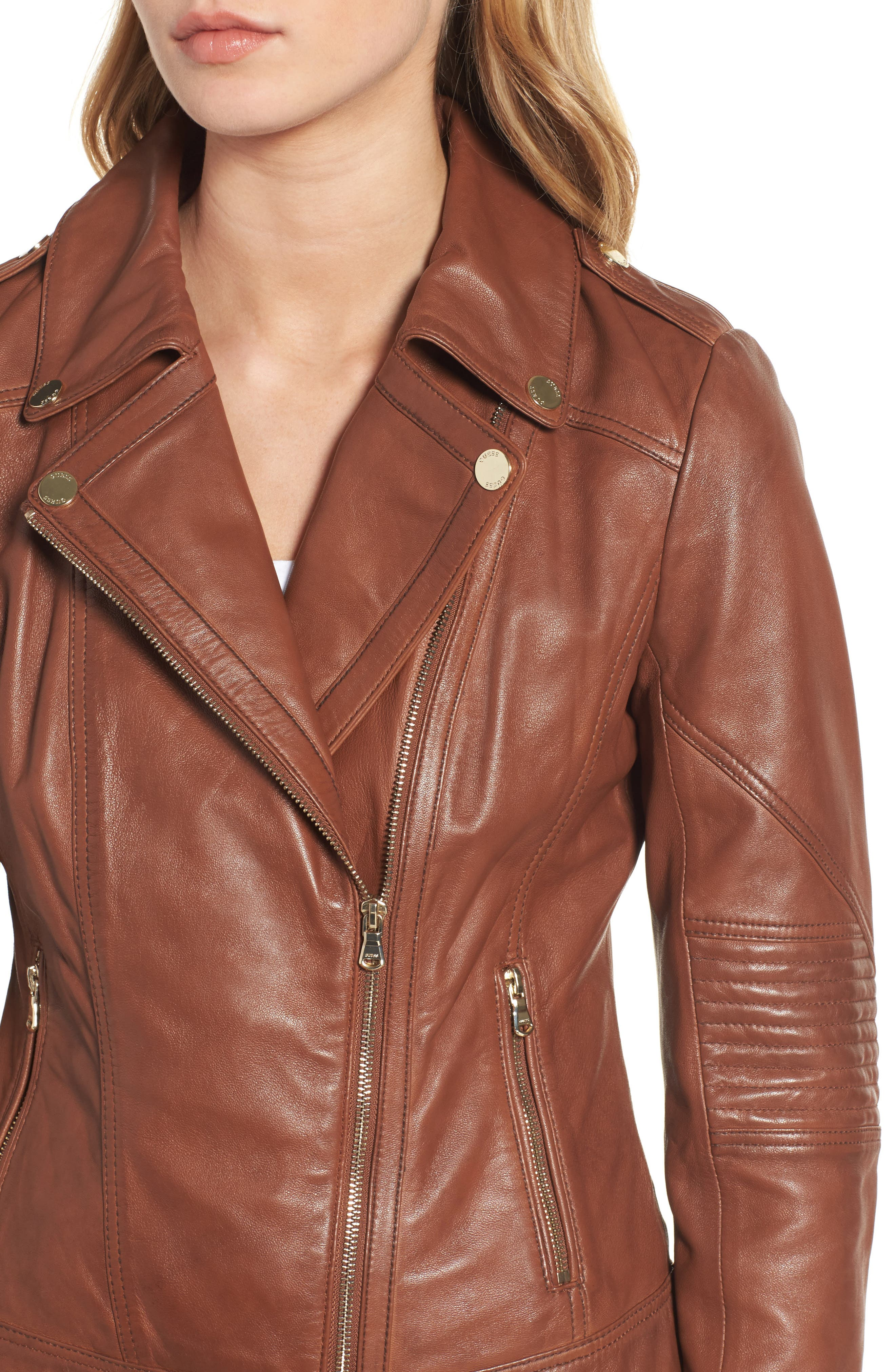 Alternate Image 4  - Guess Leather Moto Jacket