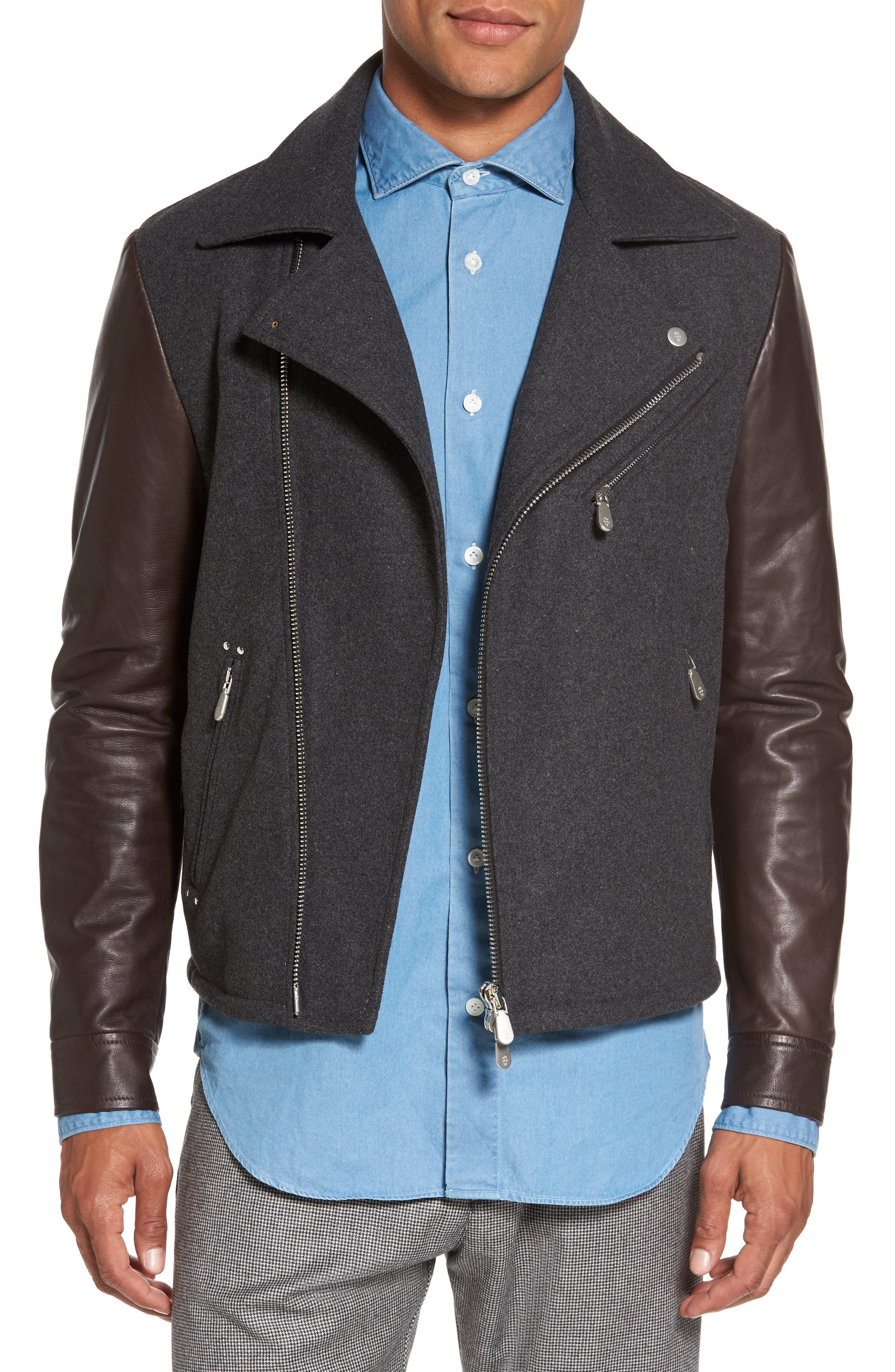 Leather & Flannel Moto Jacket,                             Main thumbnail 1, color,                             Charcoal/ Brown