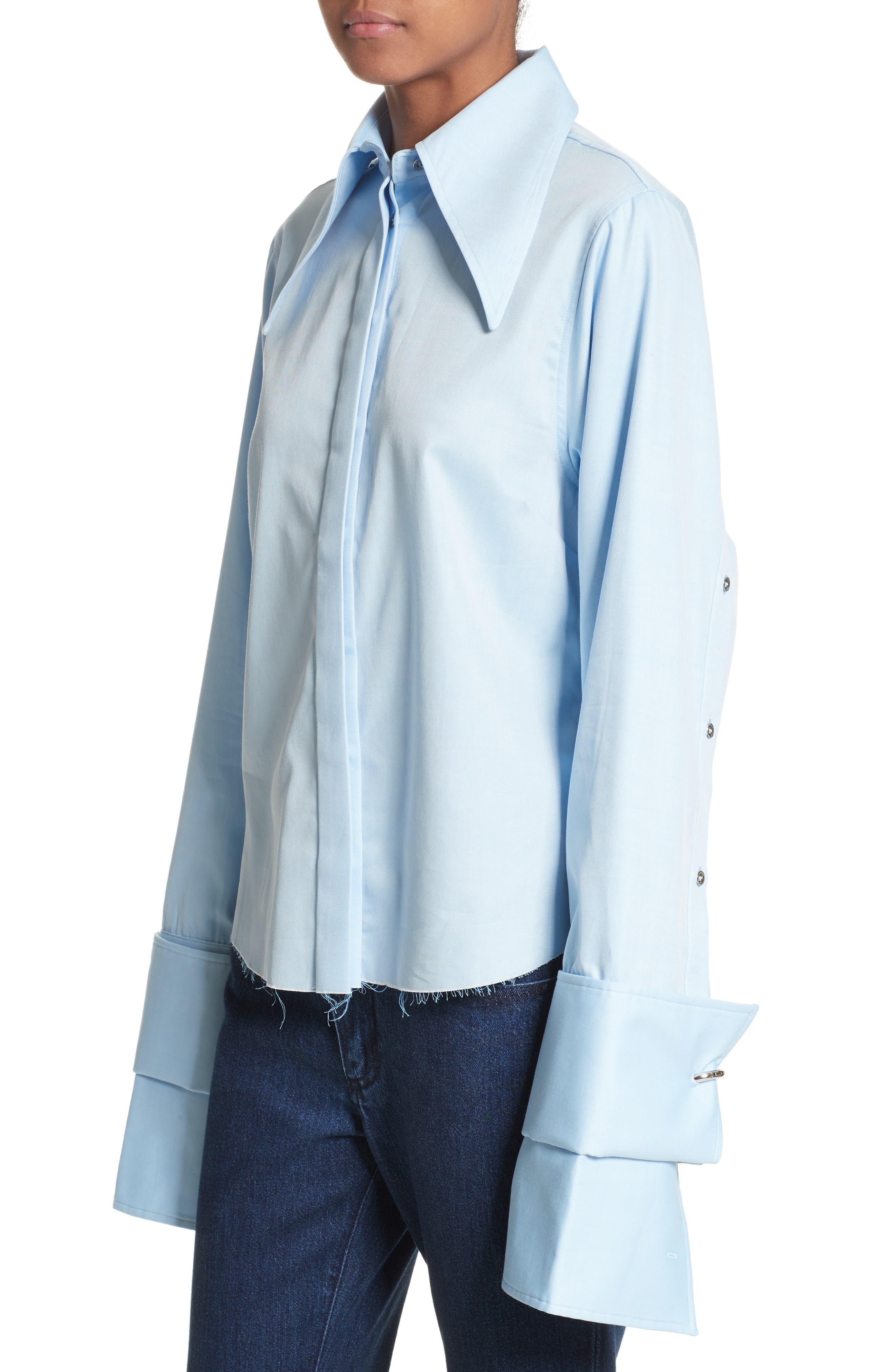 Marques'Almeida Double Sleeve Blouse,                             Alternate thumbnail 4, color,                             Light Blue
