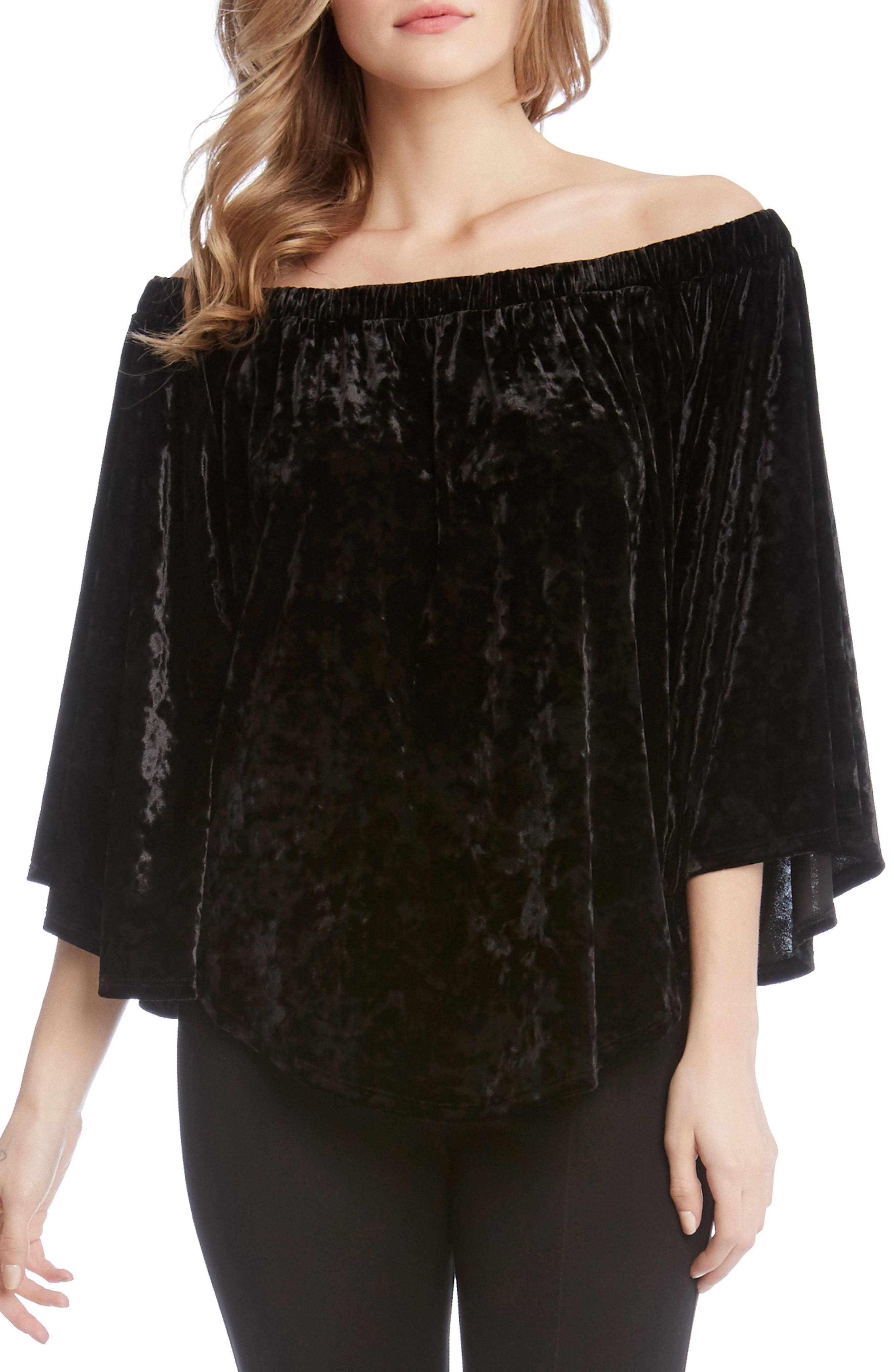 Kane Karen Off the Shoulder Velvet Top,                             Alternate thumbnail 3, color,                             Black