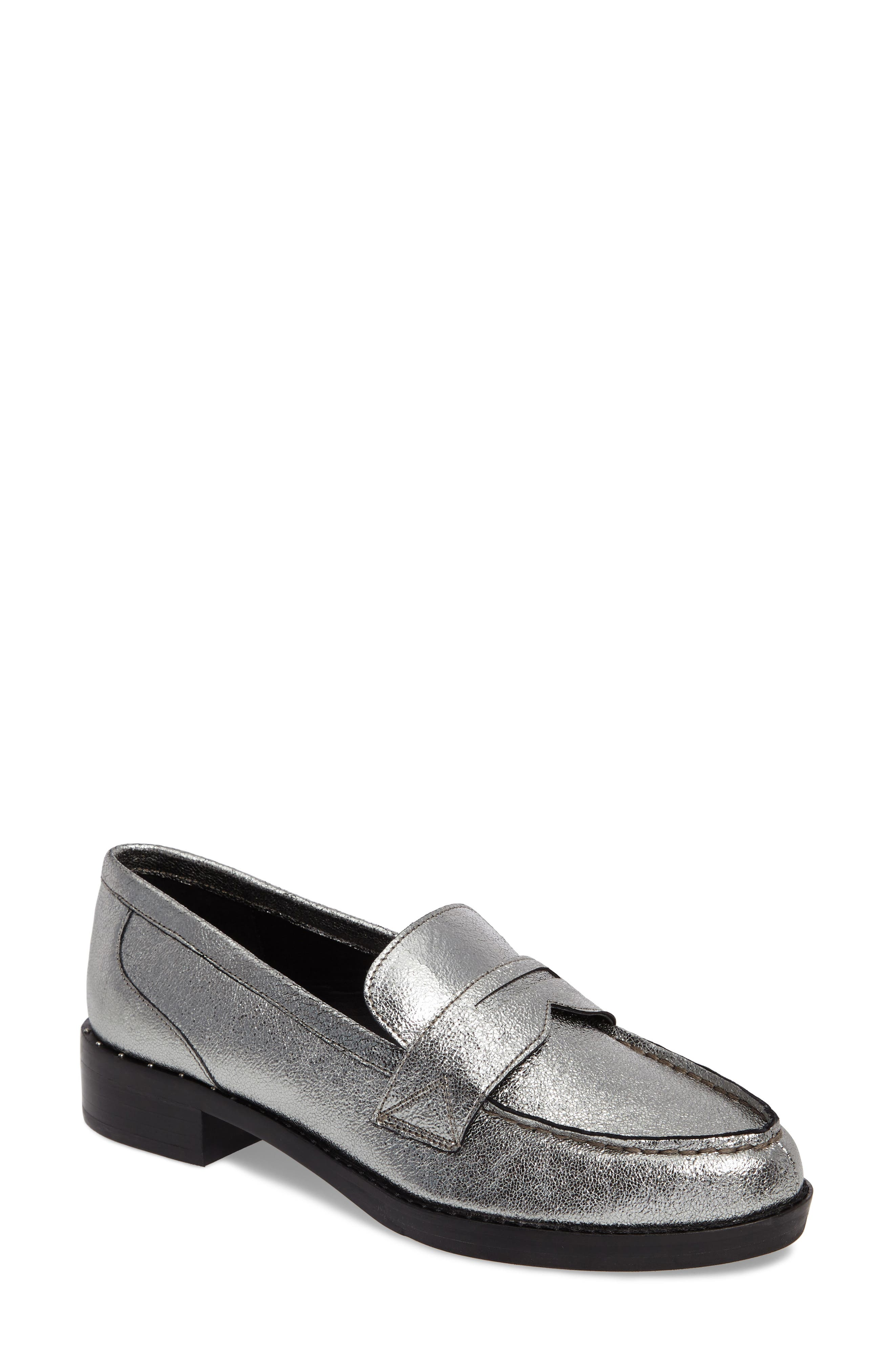 Vero Penny Loafer,                             Main thumbnail 1, color,                             Pewter Leather
