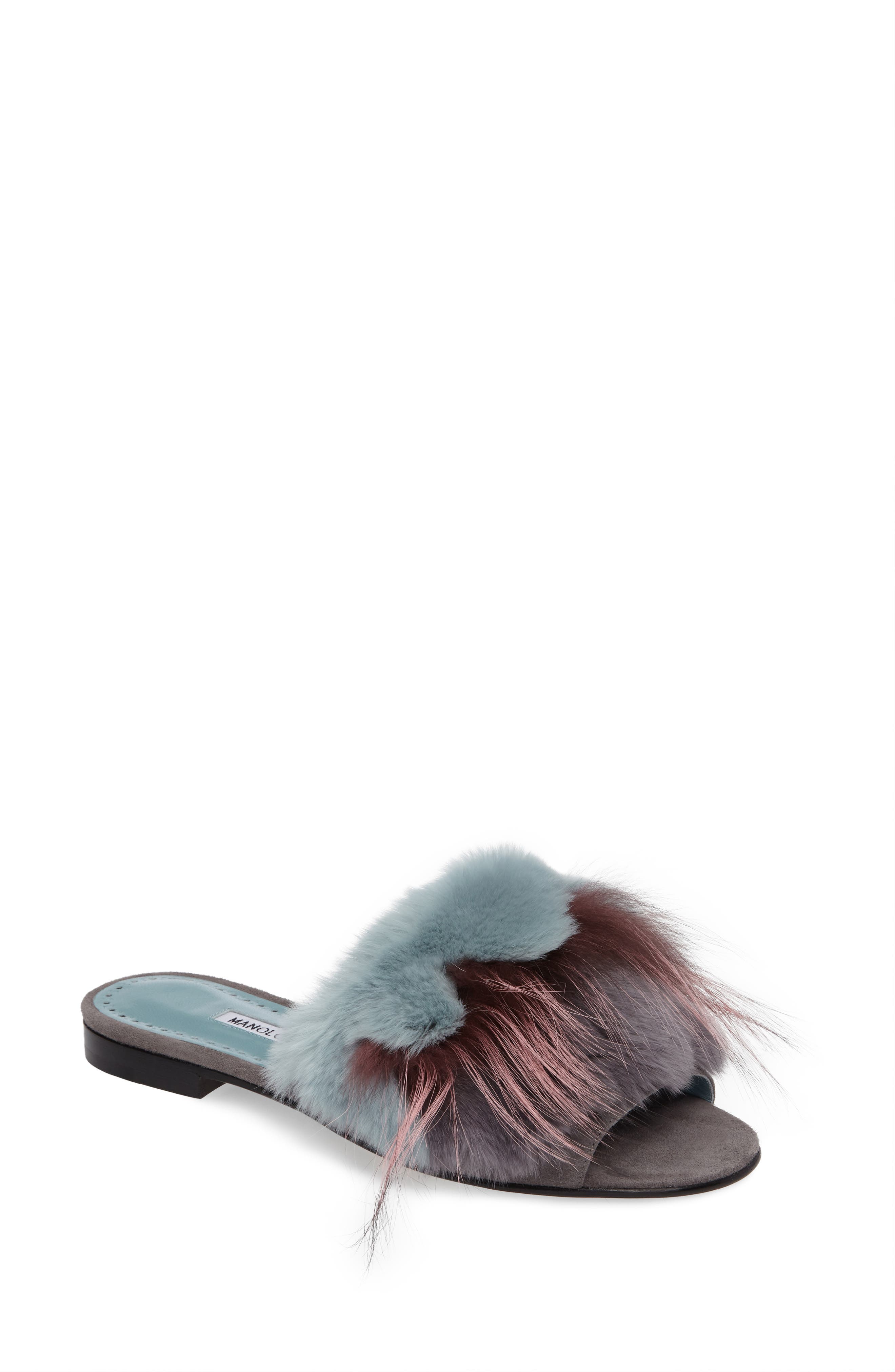Manolo Blahnik Pelosusrafo Genuine Rabbit & Fox Fur Slide Sandal (Women)