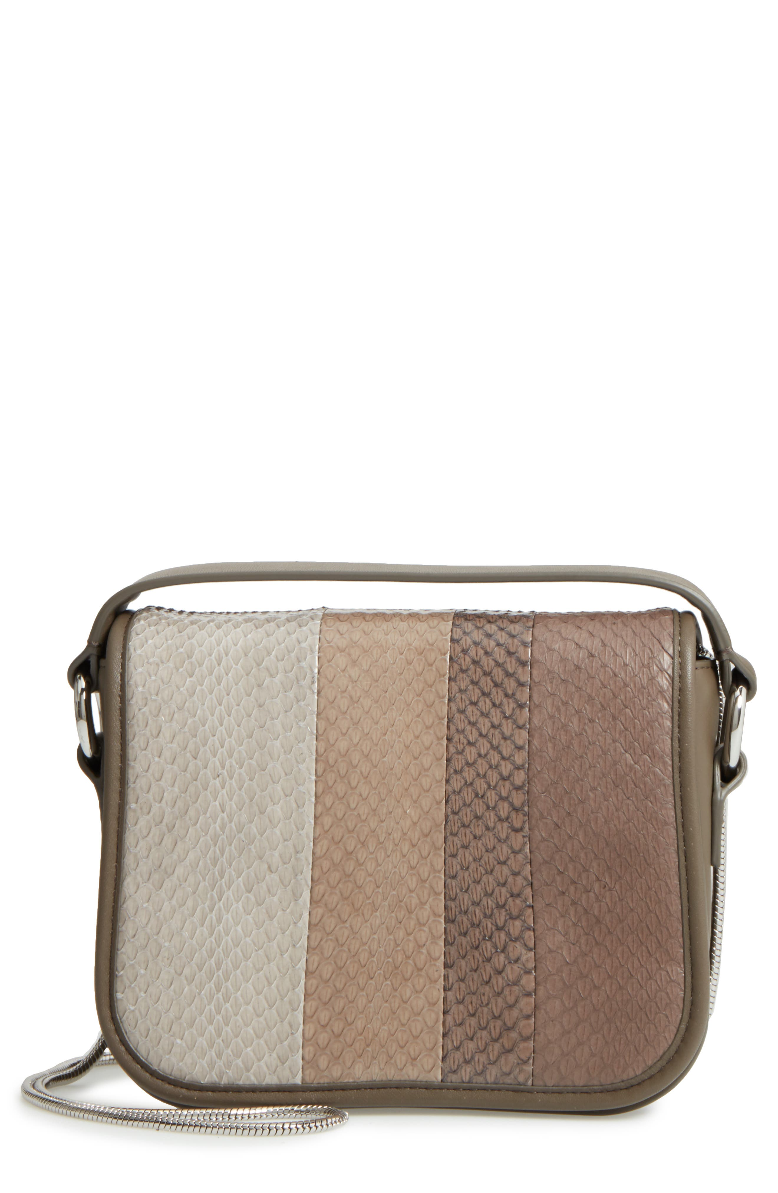 Main Image - ALLSAINTS Ikuya Leather & Genuine Snakeskin Clutch