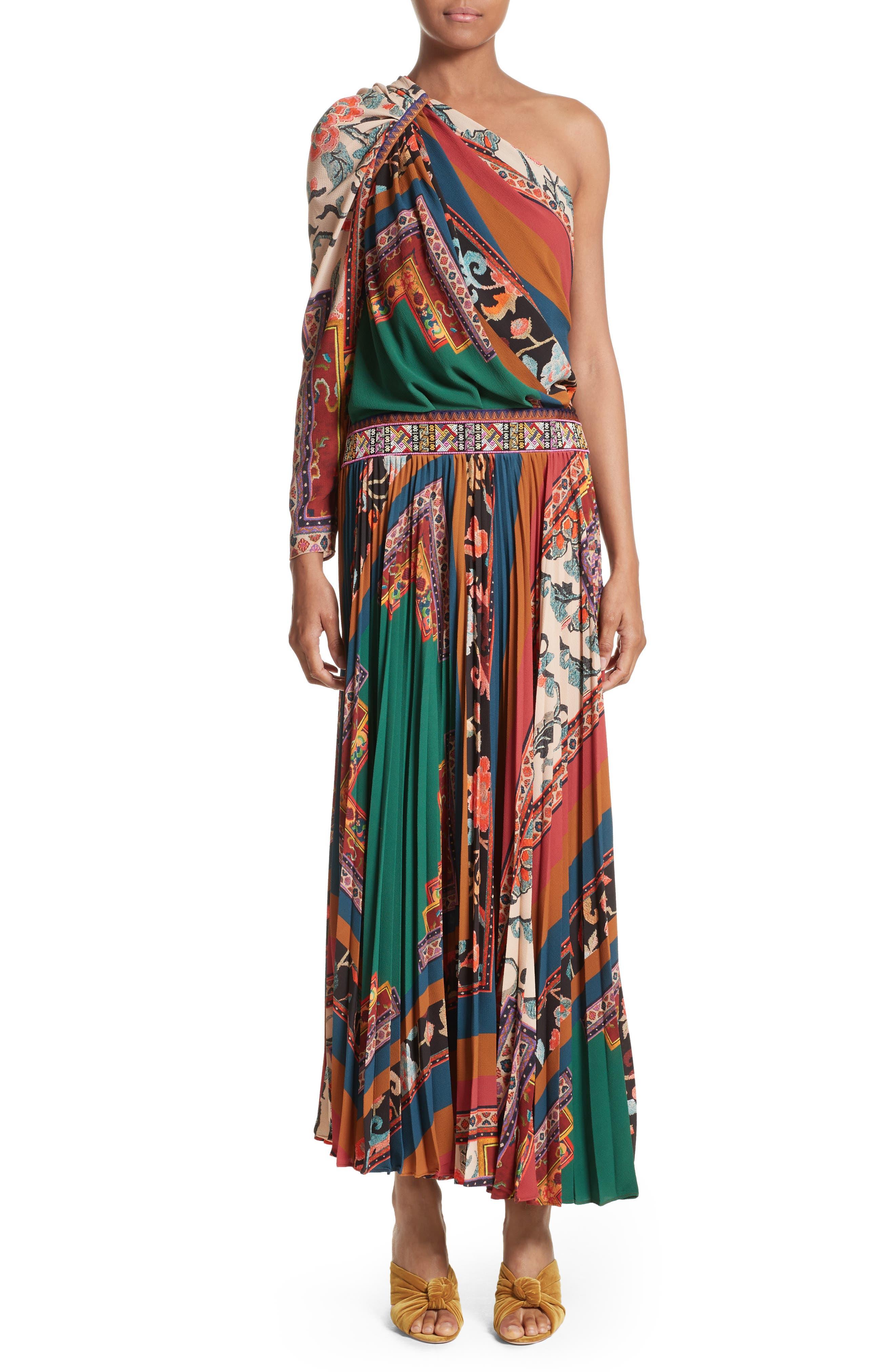 Etro Print One-Shoulder Maxi Dress