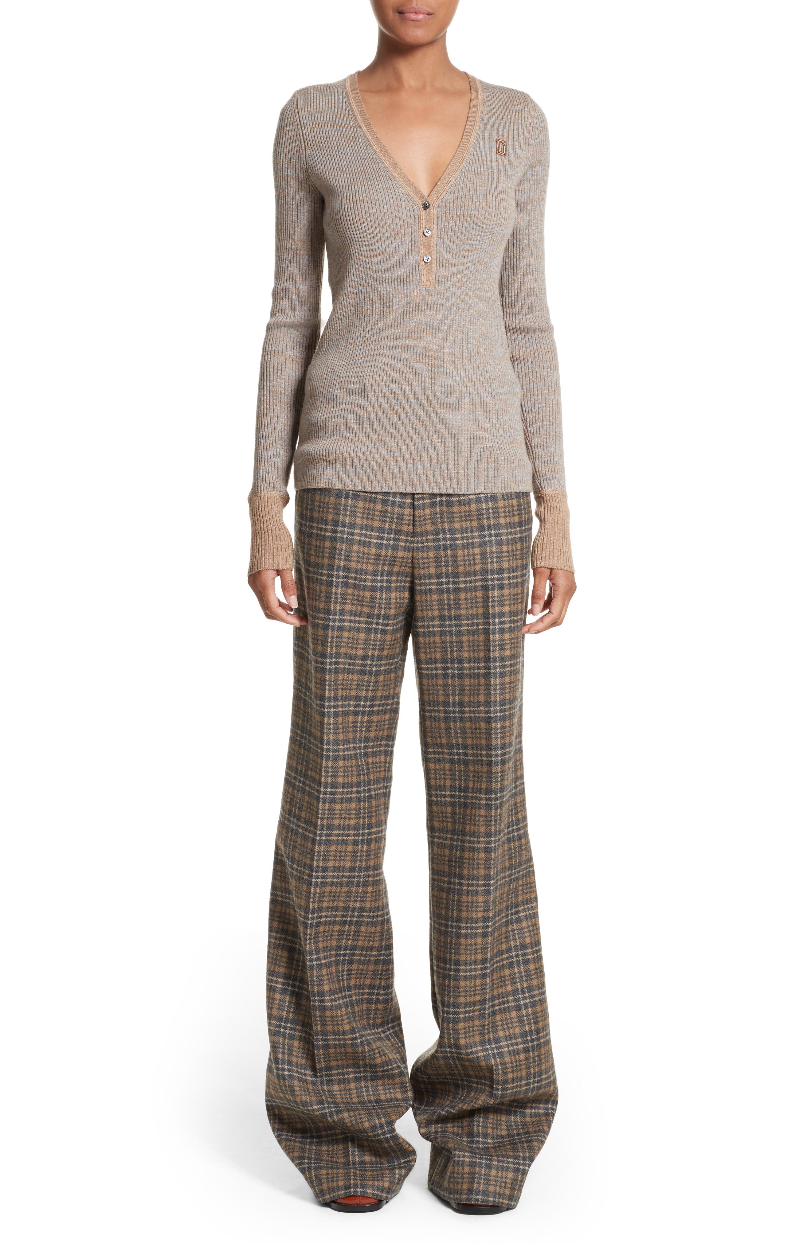 Plaid Wool Blend Wide Leg Pants,                             Alternate thumbnail 7, color,                             Camel Multi