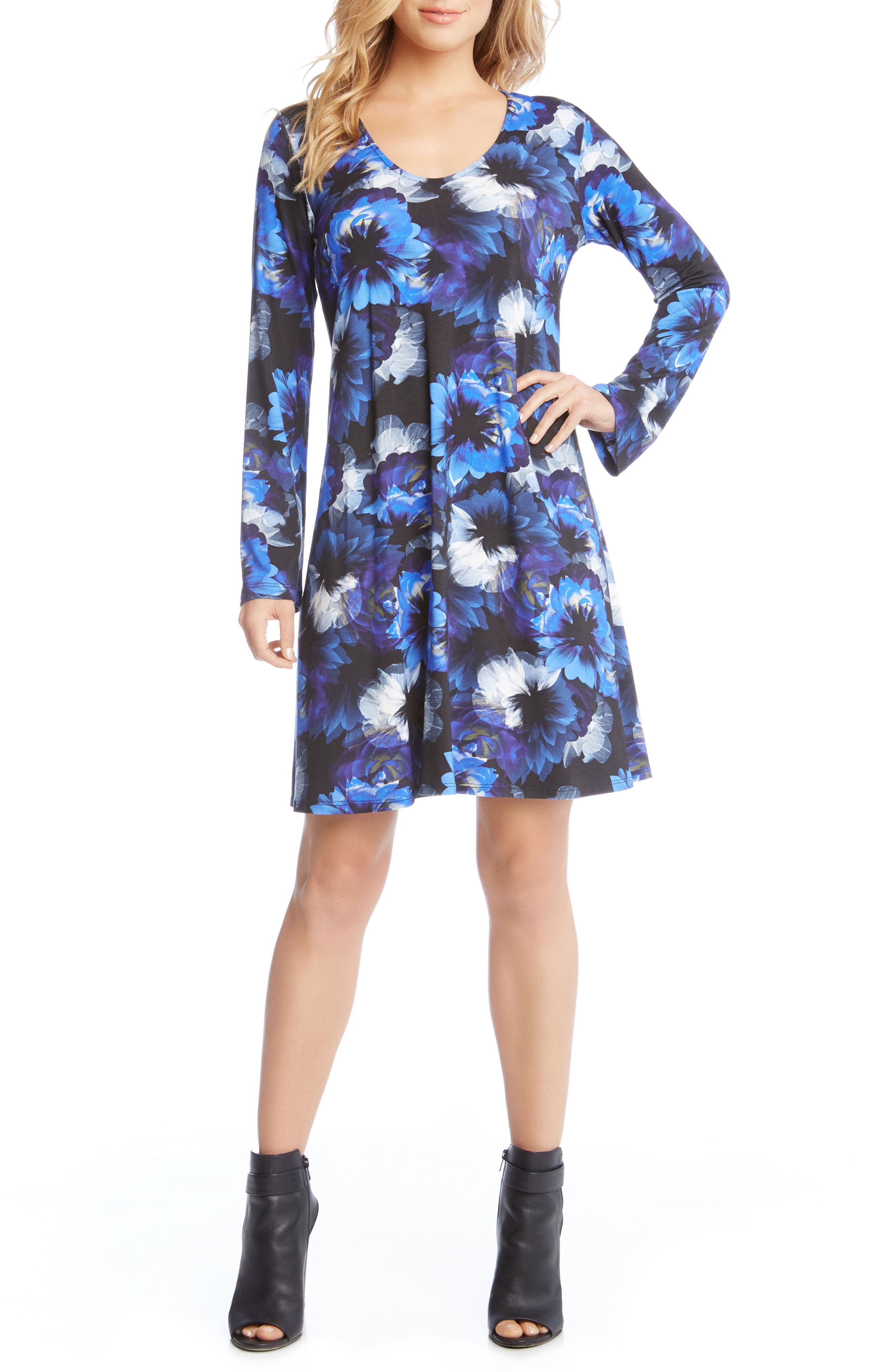 Alternate Image 2  - Karen Kane Taylor Midnight Floral Print A-Line Dress
