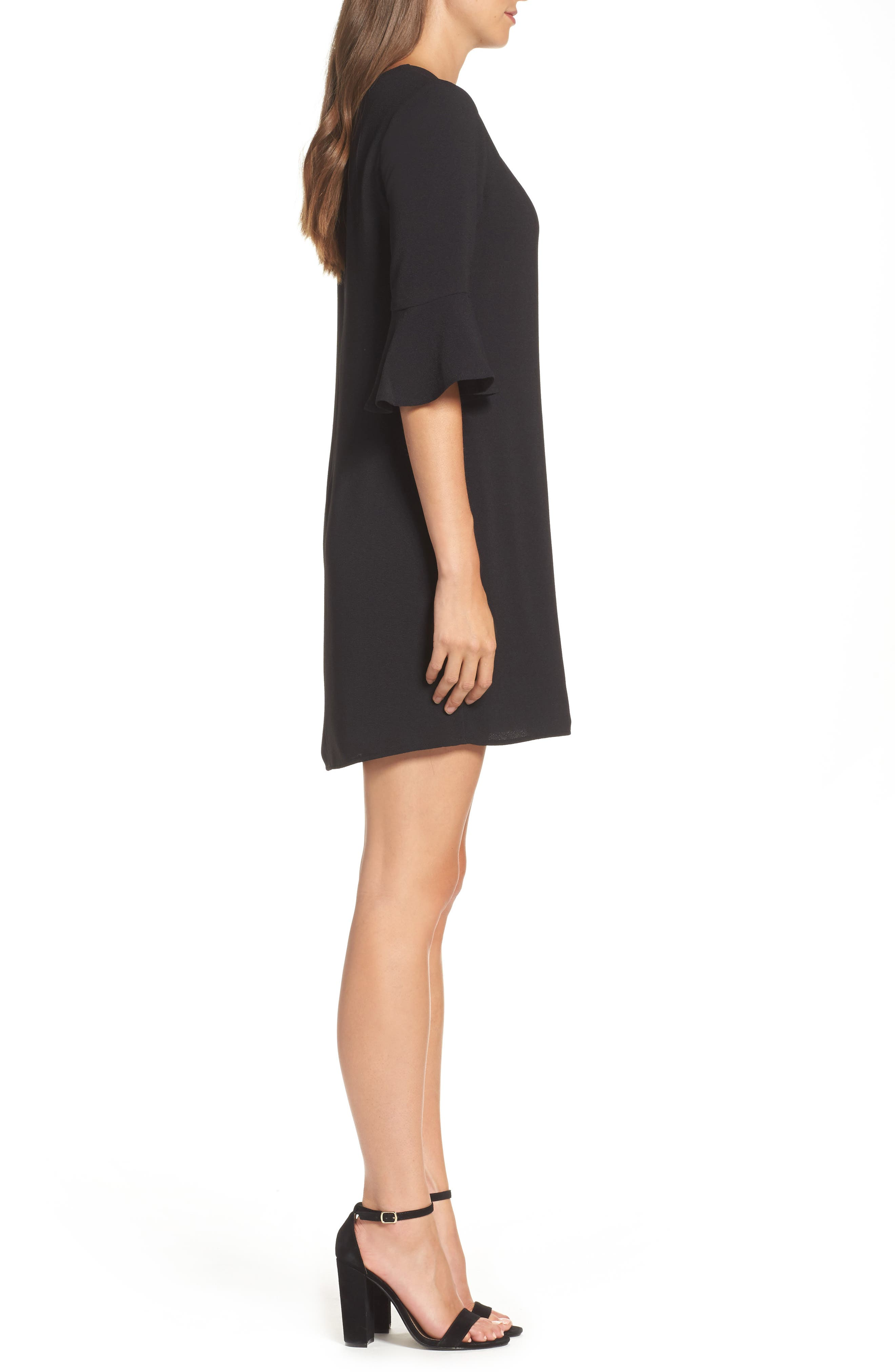 Ruffle Sleeve Shift Dress,                             Alternate thumbnail 3, color,                             Black