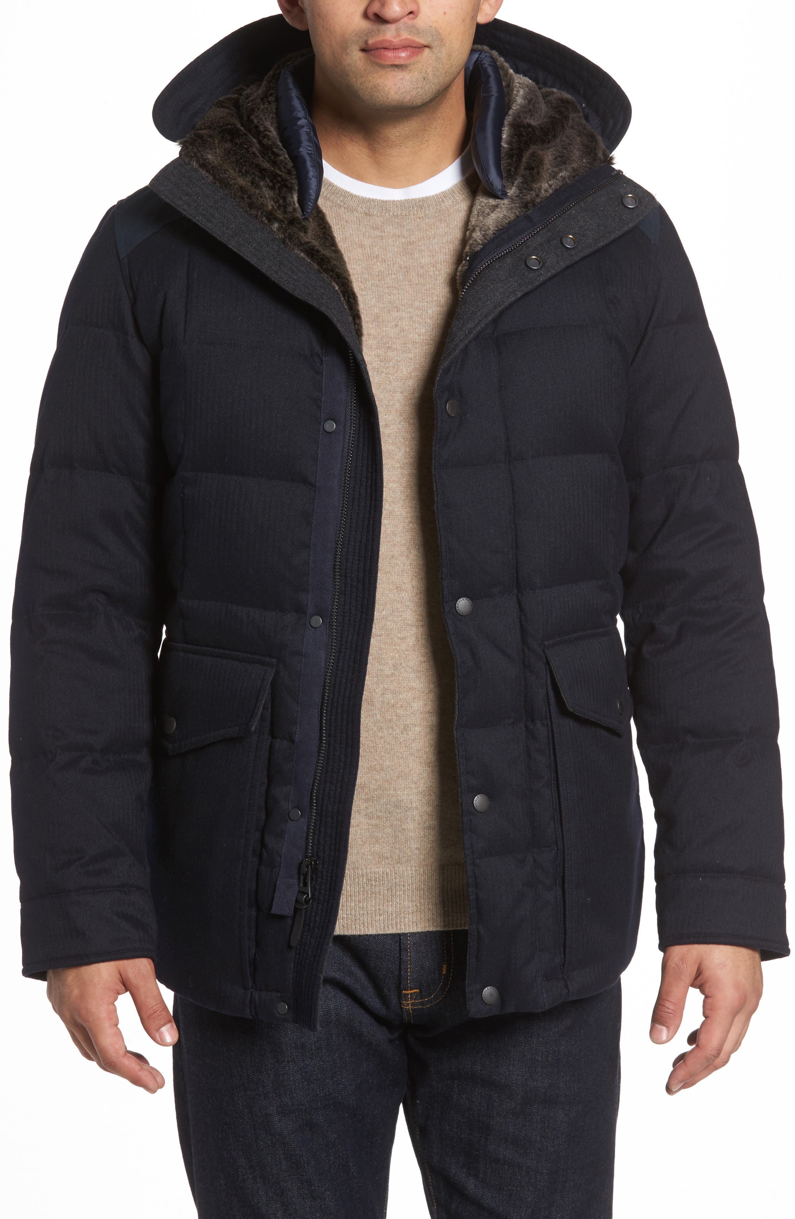 Faux Fur Trim Mixed Media Hooded Down Jacket,                         Main,                         color, Navy