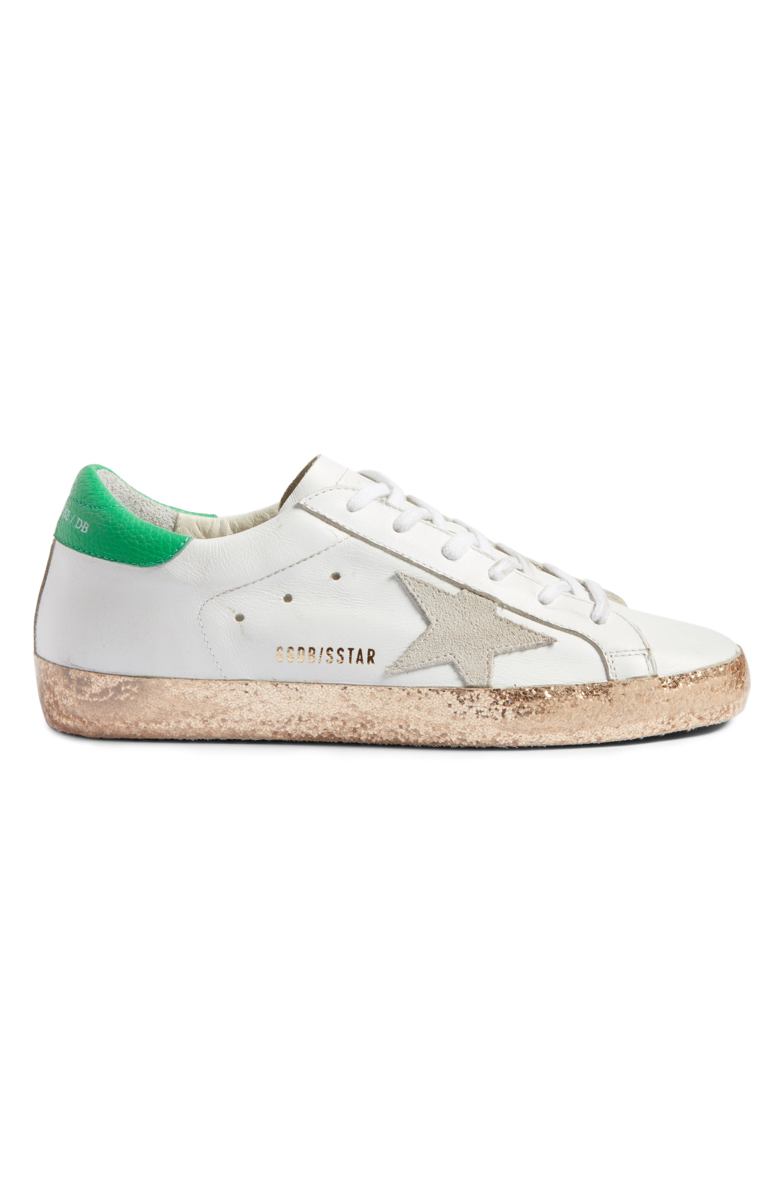 Superstar Low Top Sneaker,                             Alternate thumbnail 3, color,                             White Leather/ Gold