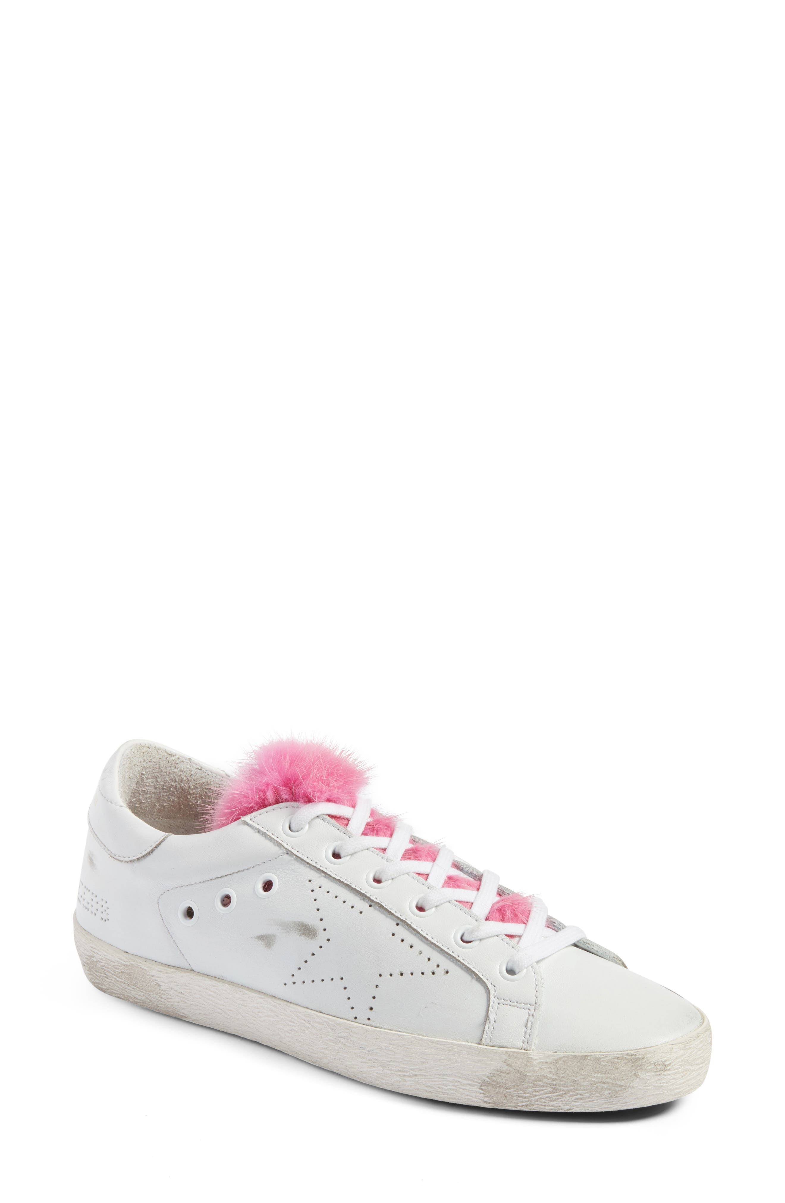 Superstar Genuine Mink Fur Sneaker,                         Main,                         color, White Leather/ Pink