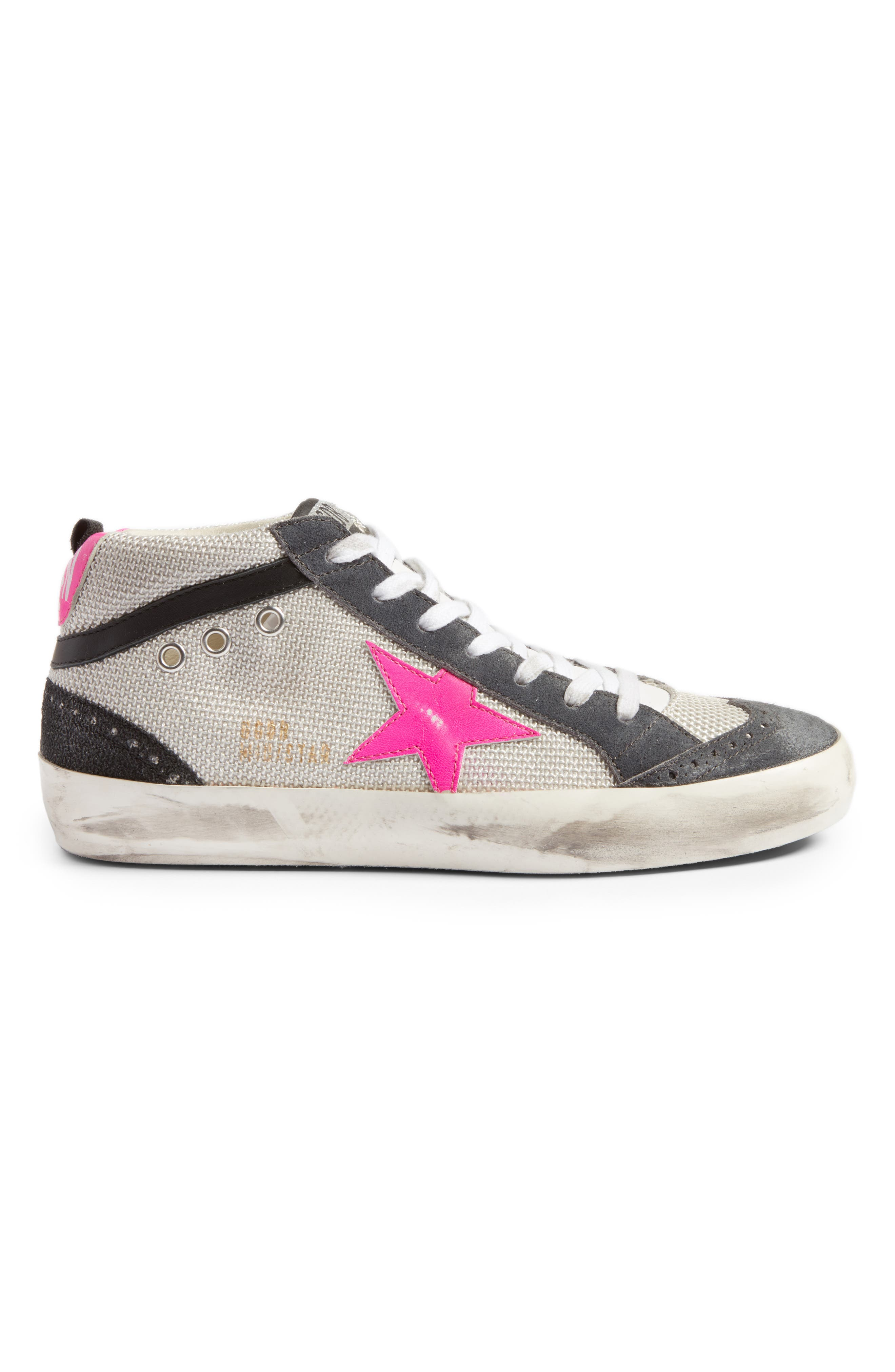 Star Mid Top Sneaker,                             Alternate thumbnail 3, color,                             Grey/ Pink