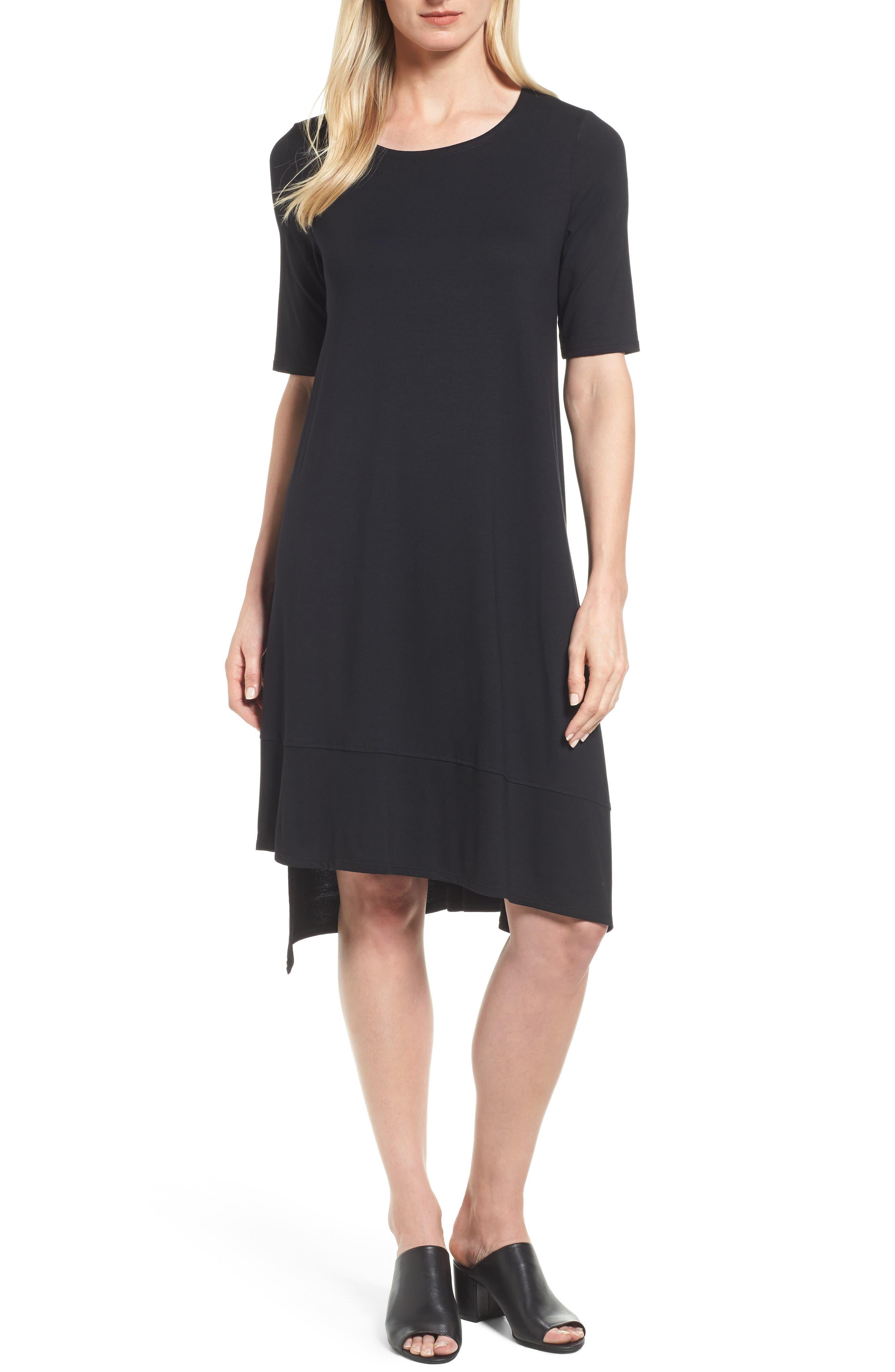 Jersey Asymmetrical A-Line Dress,                         Main,                         color, Black
