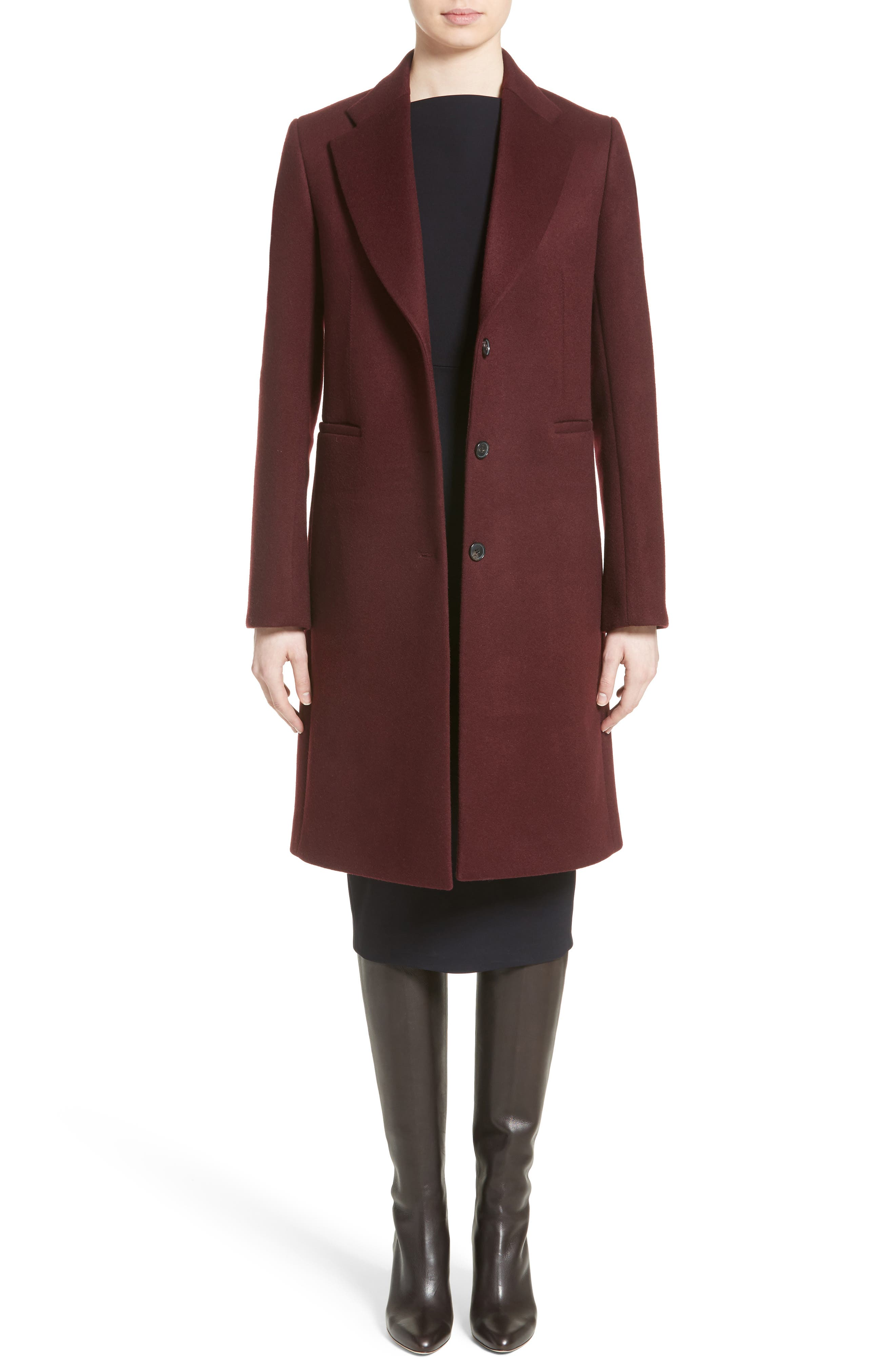 Bonded Felt Coat,                             Alternate thumbnail 6, color,                             Wine-Raspberry