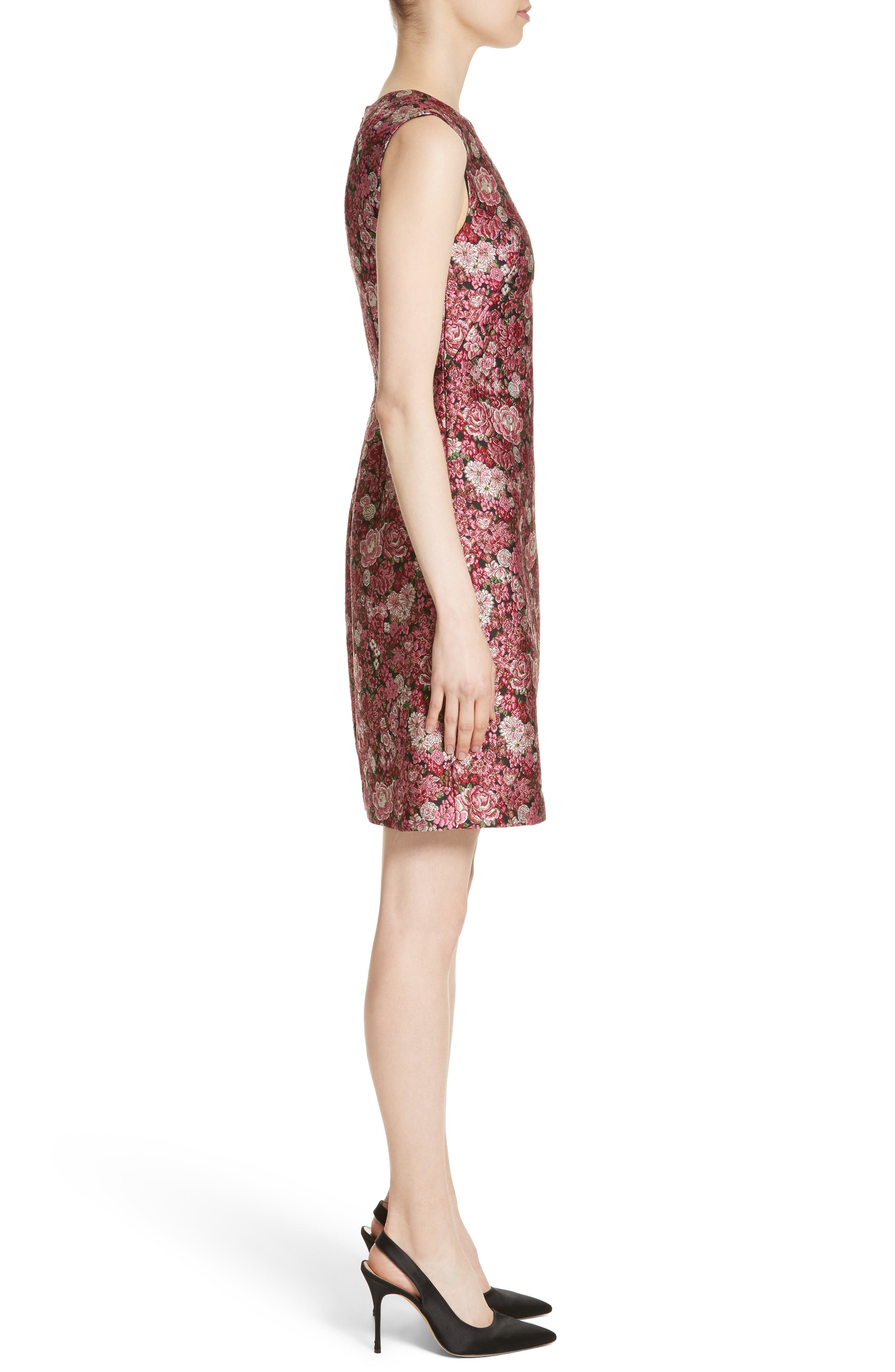 Floral Brocade Dress,                             Alternate thumbnail 3, color,                             Pink Multi