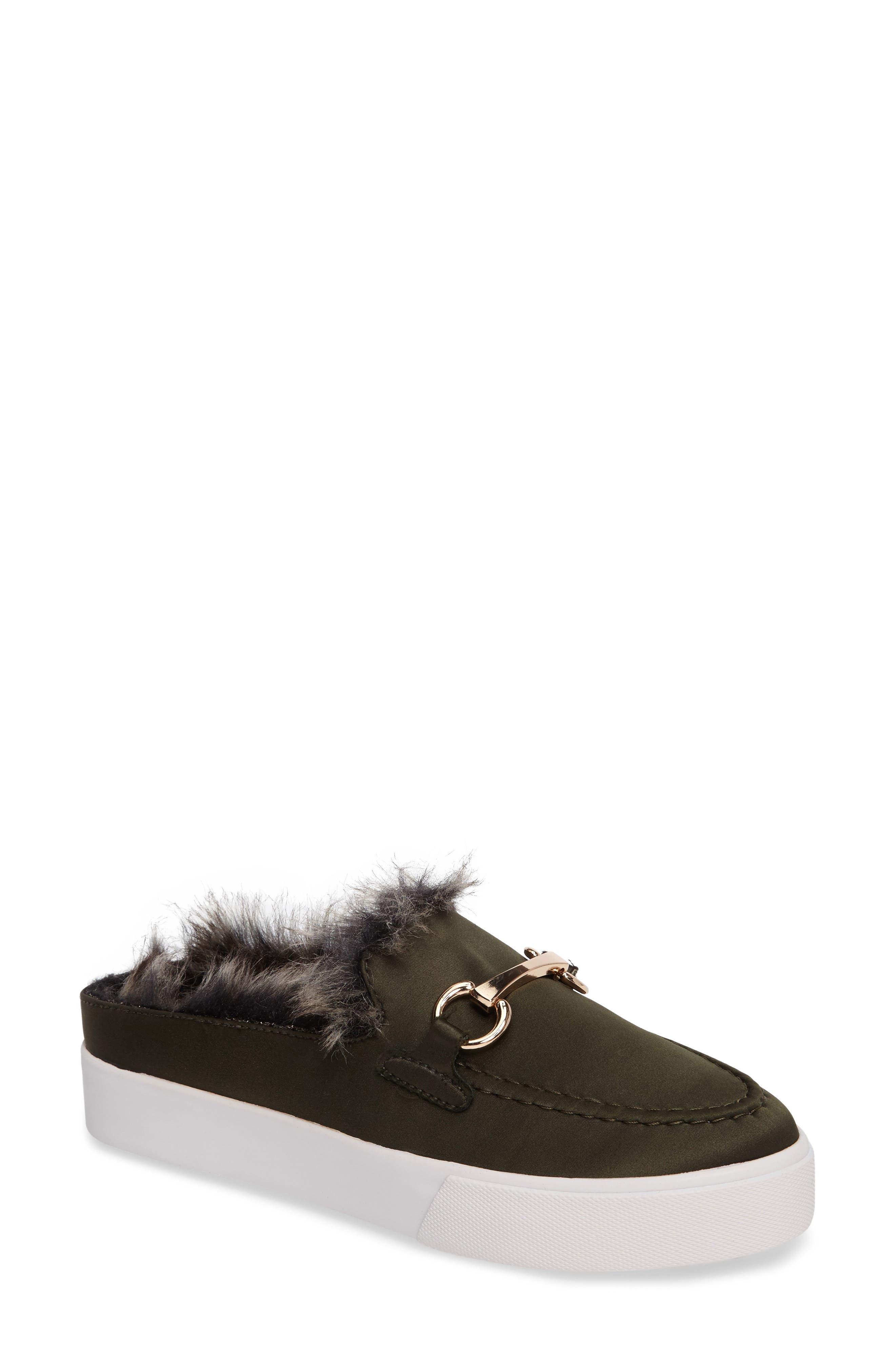 Tico Faux Fur Sneaker Mule,                         Main,                         color, Olive Satin-Gold-Grey