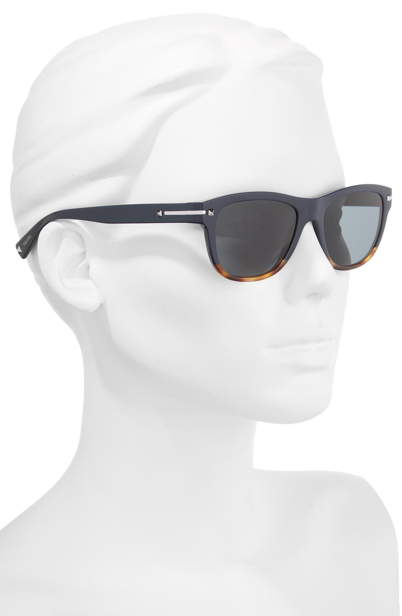 53mm Rectangle Sunglasses,                             Alternate thumbnail 2, color,                             Blue/ Havana