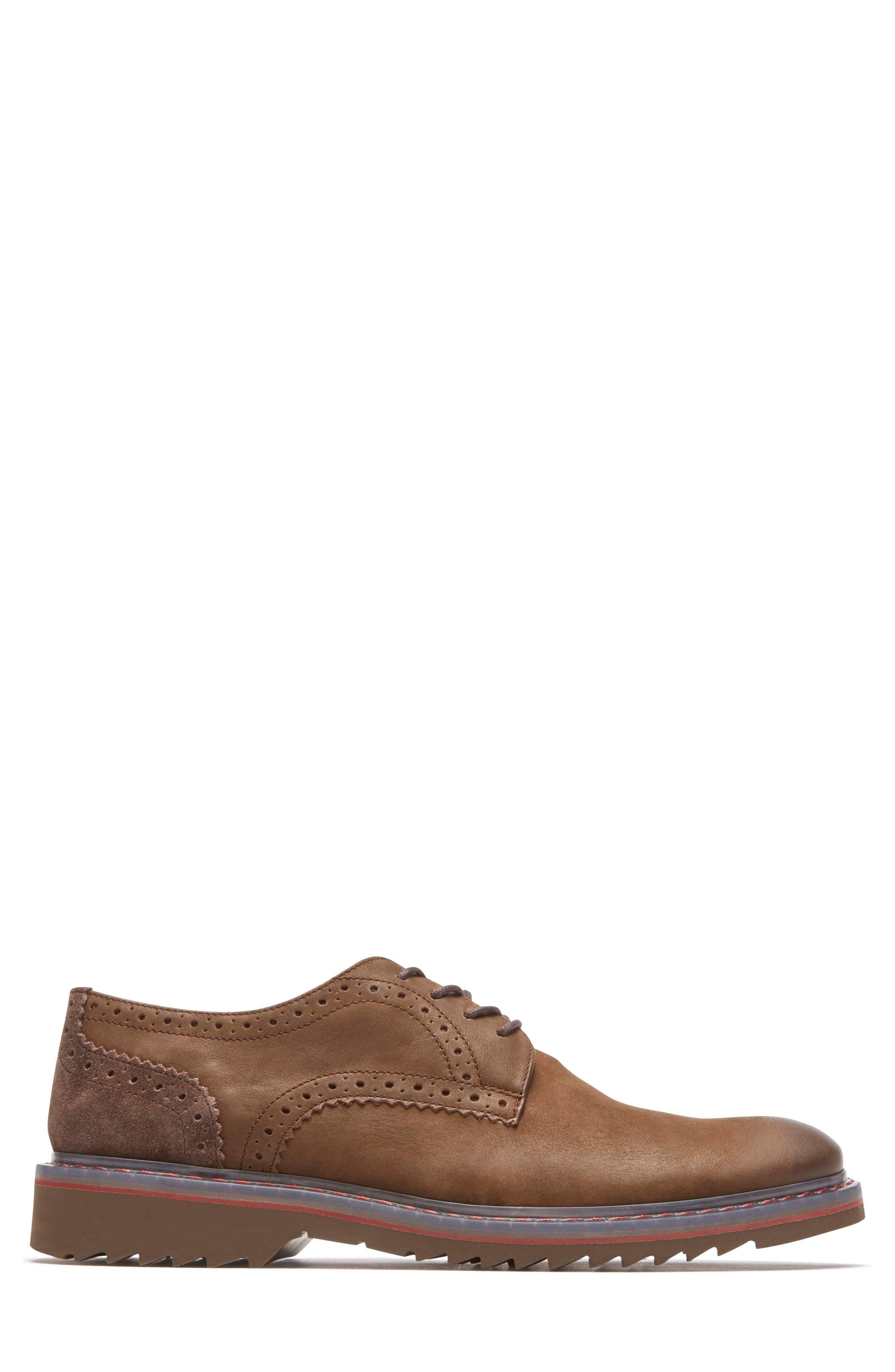 Jaxson Plain Toe Derby,                             Alternate thumbnail 3, color,                             Brown Leather