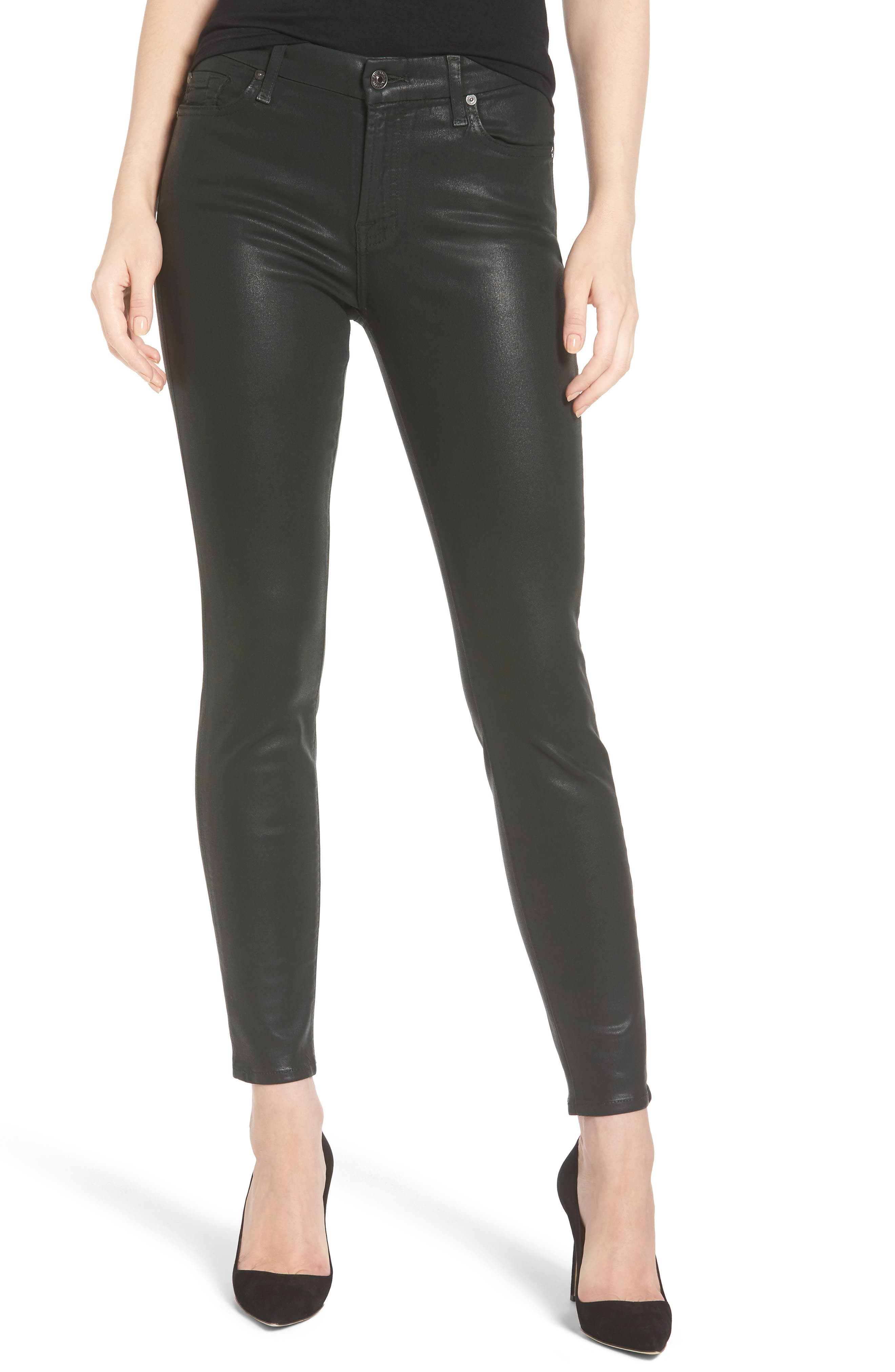 7 FOR ALL MANKIND<SUP>®</SUP> Coated Ankle Skinny Jeans