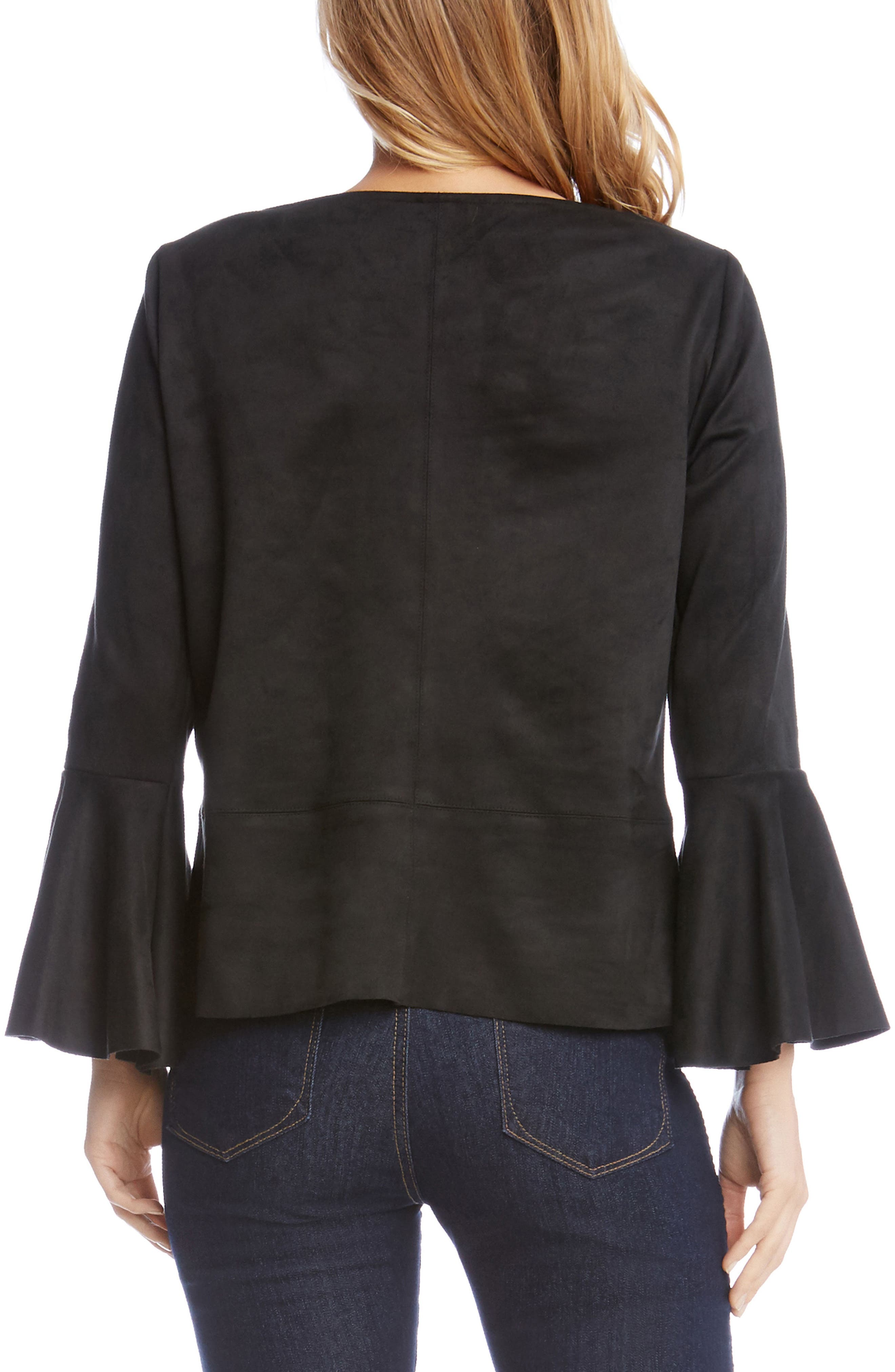 Flare Sleeve Faux Suede Top,                             Alternate thumbnail 2, color,                             Black