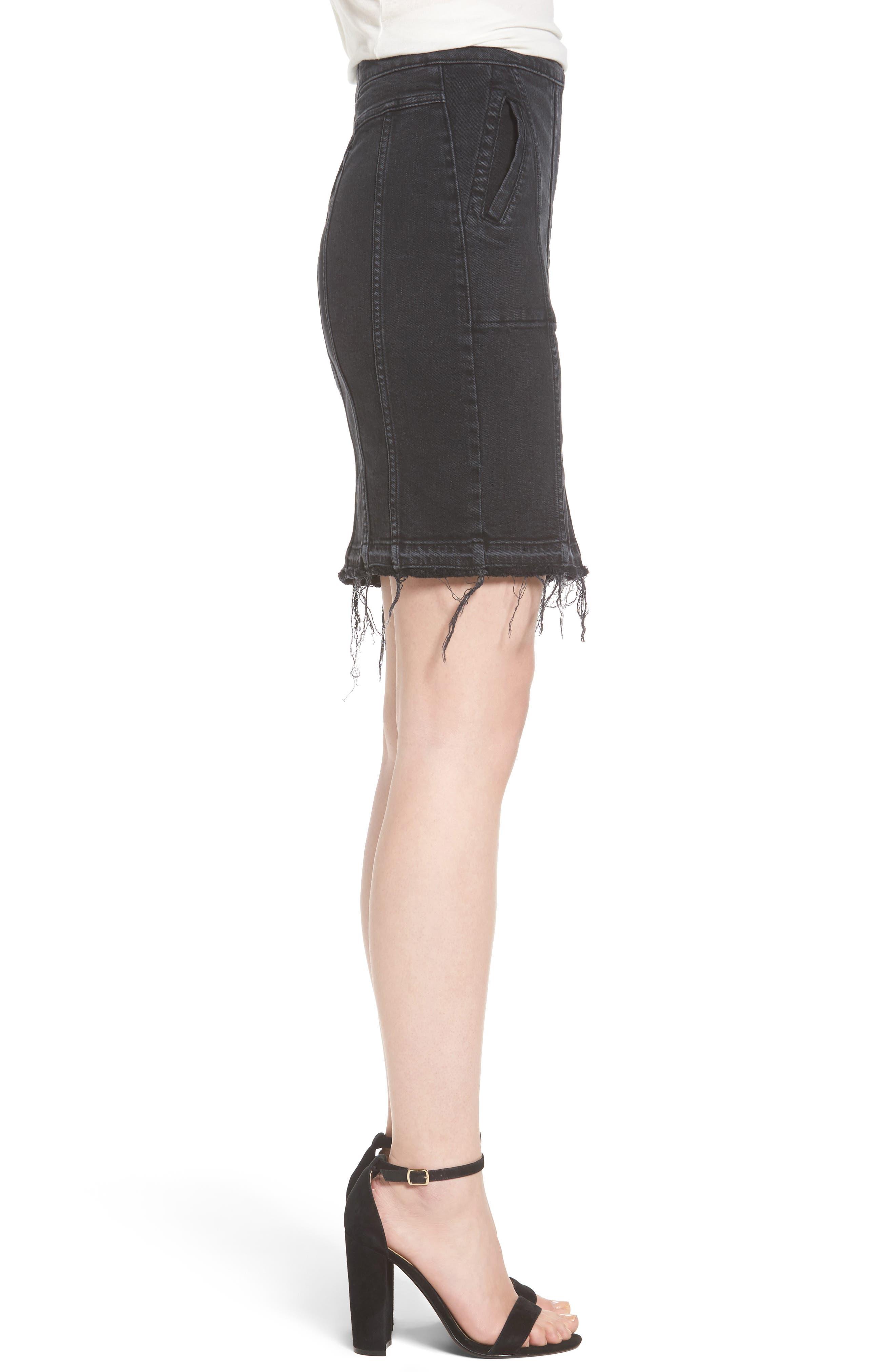 Poppy Denim Miniskirt,                             Alternate thumbnail 3, color,                             Quinn