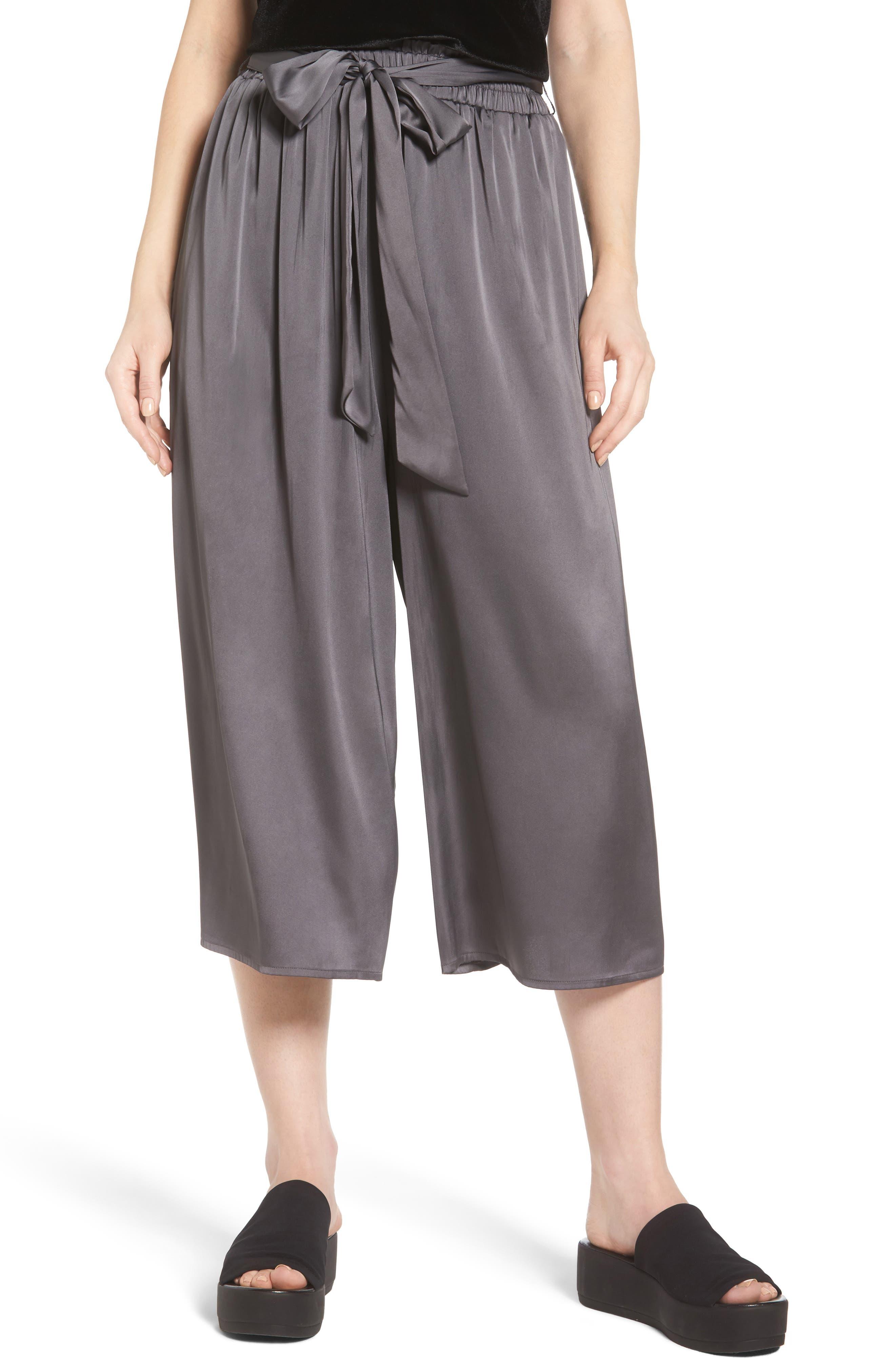 Crop Satin Wide Leg Pants,                         Main,                         color, Granite