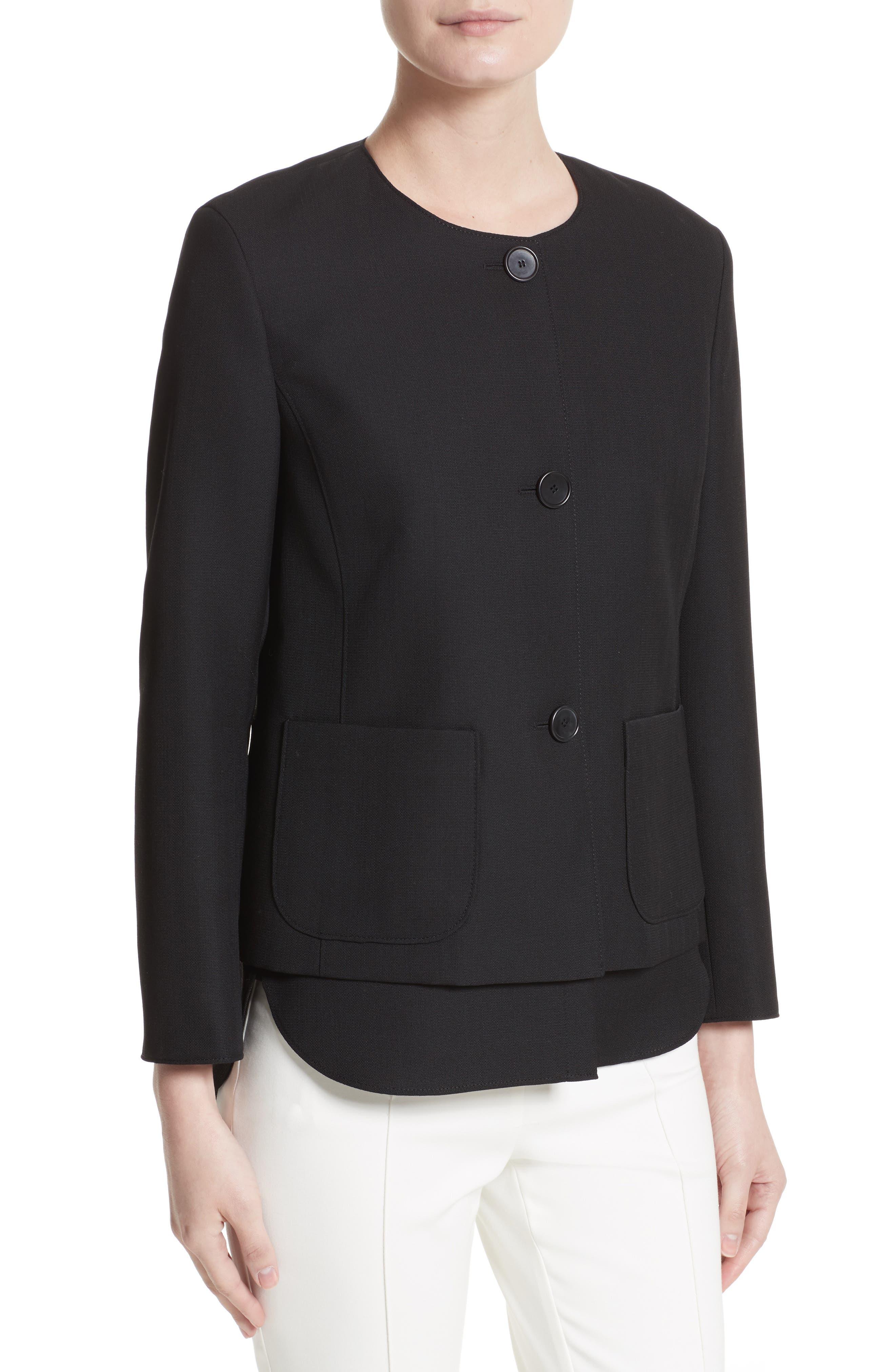 Wool Jacket with Detachable Hem,                             Alternate thumbnail 5, color,                             Black