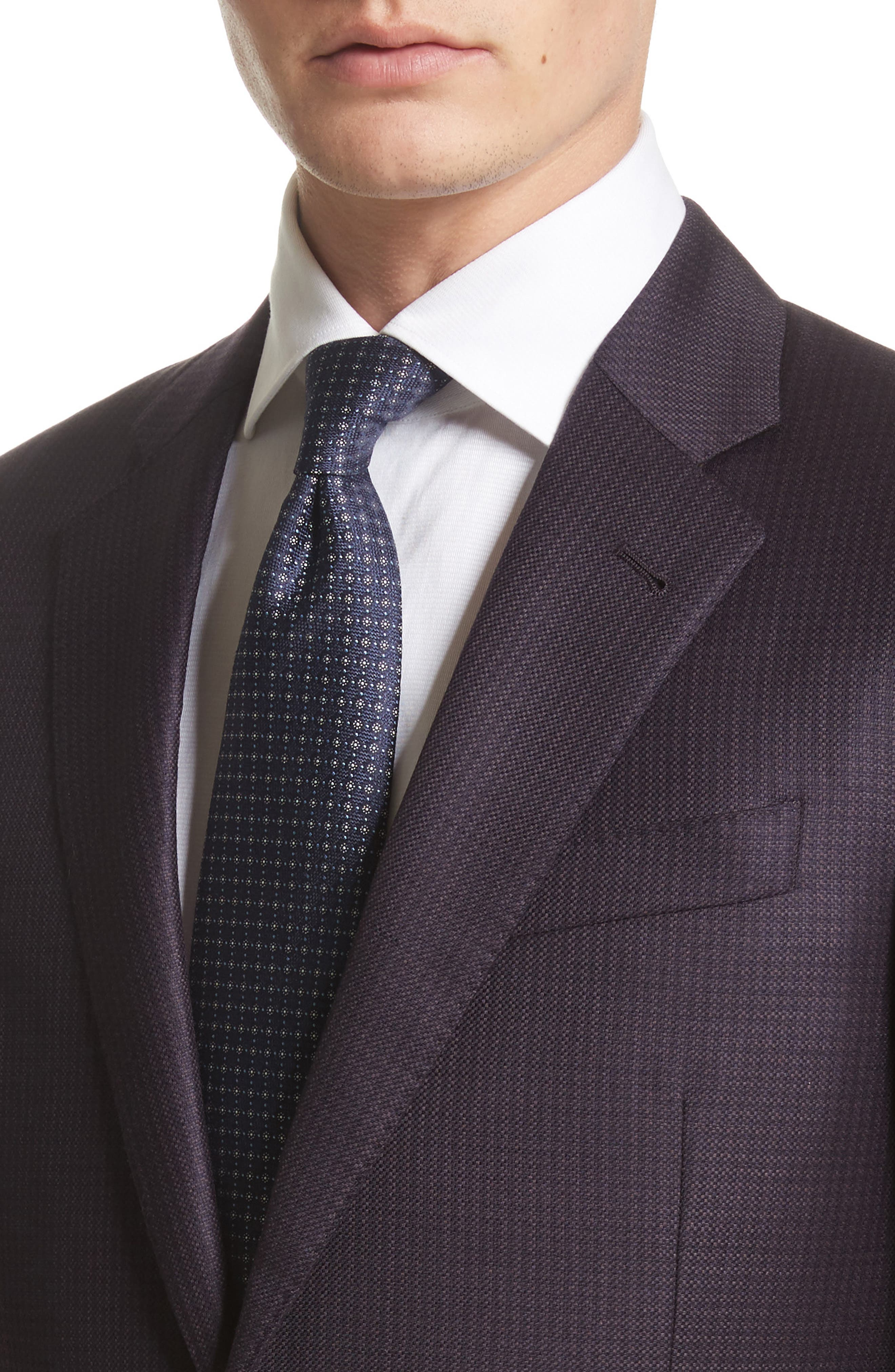 G-Line Trim Fit Houndstooth Wool Sport Coat,                             Alternate thumbnail 4, color,                             Solid Dark Red