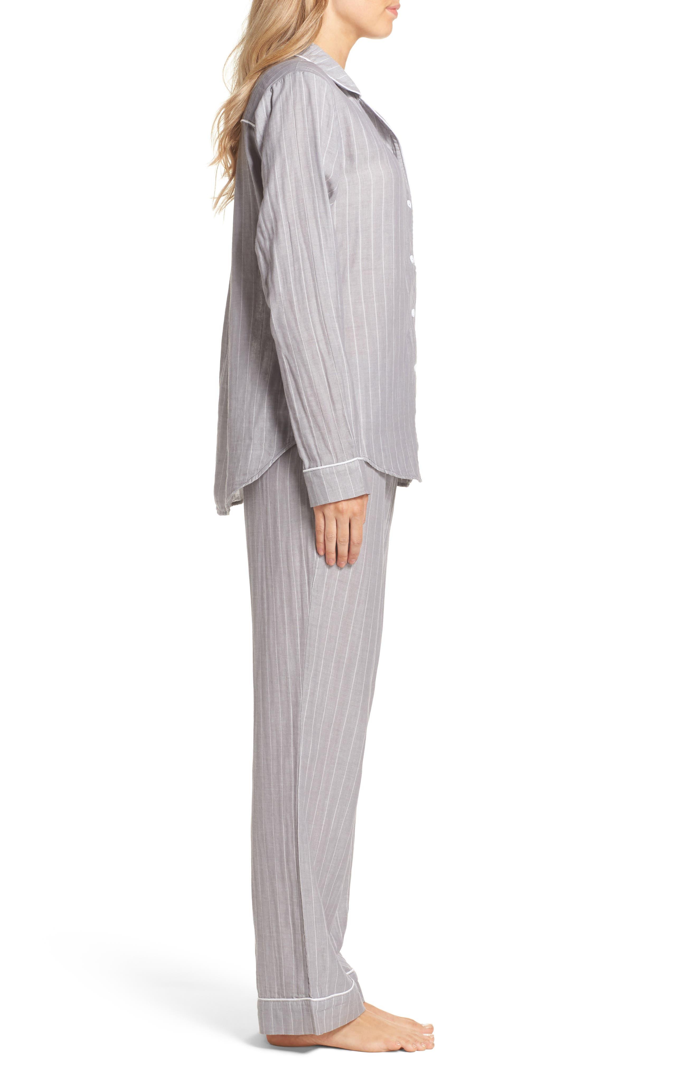 Raven Stripe Pajamas,                             Alternate thumbnail 3, color,                             Seal
